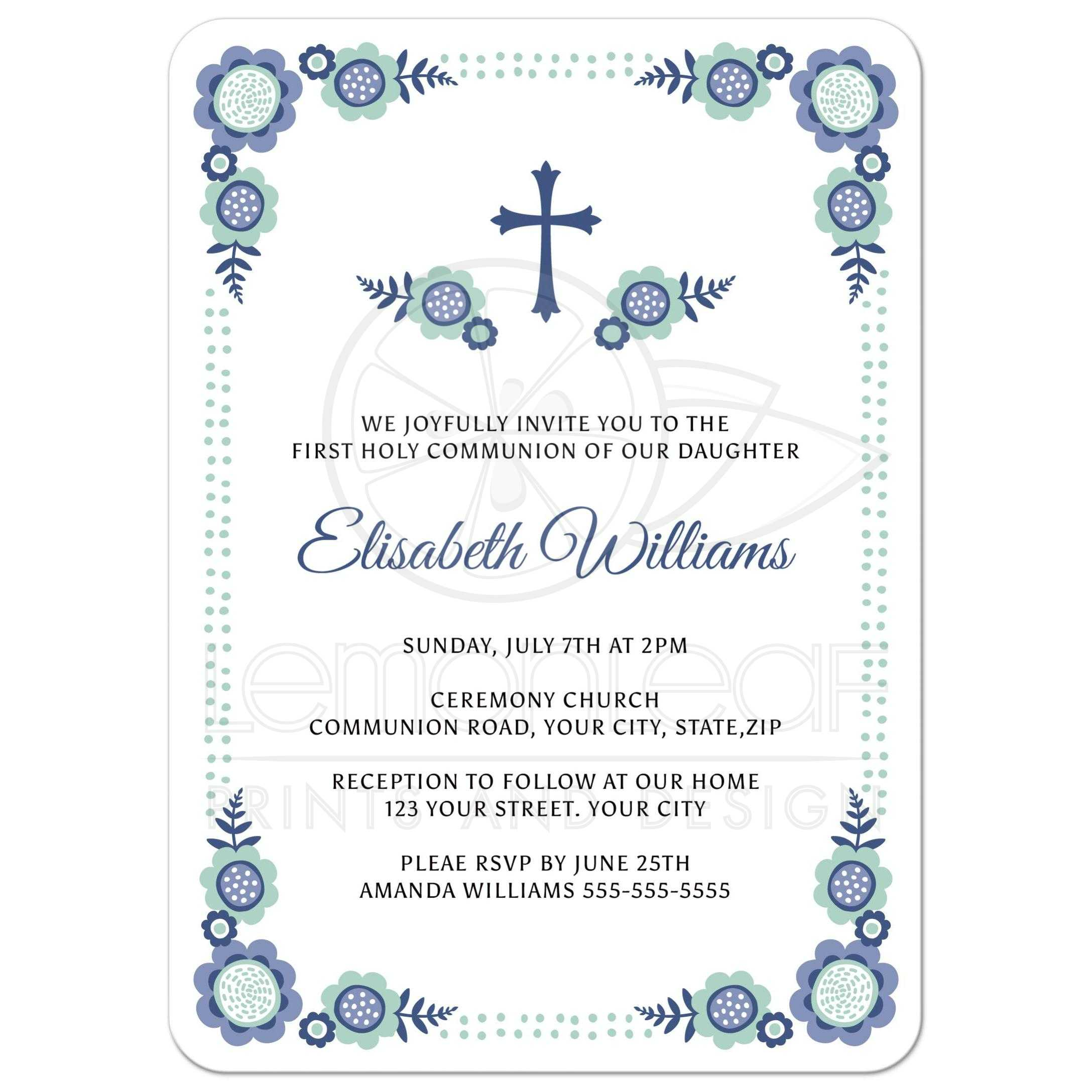 Reception Following Ceremony Wording: Blue Bloom First Holy Communion Invitation With Cute