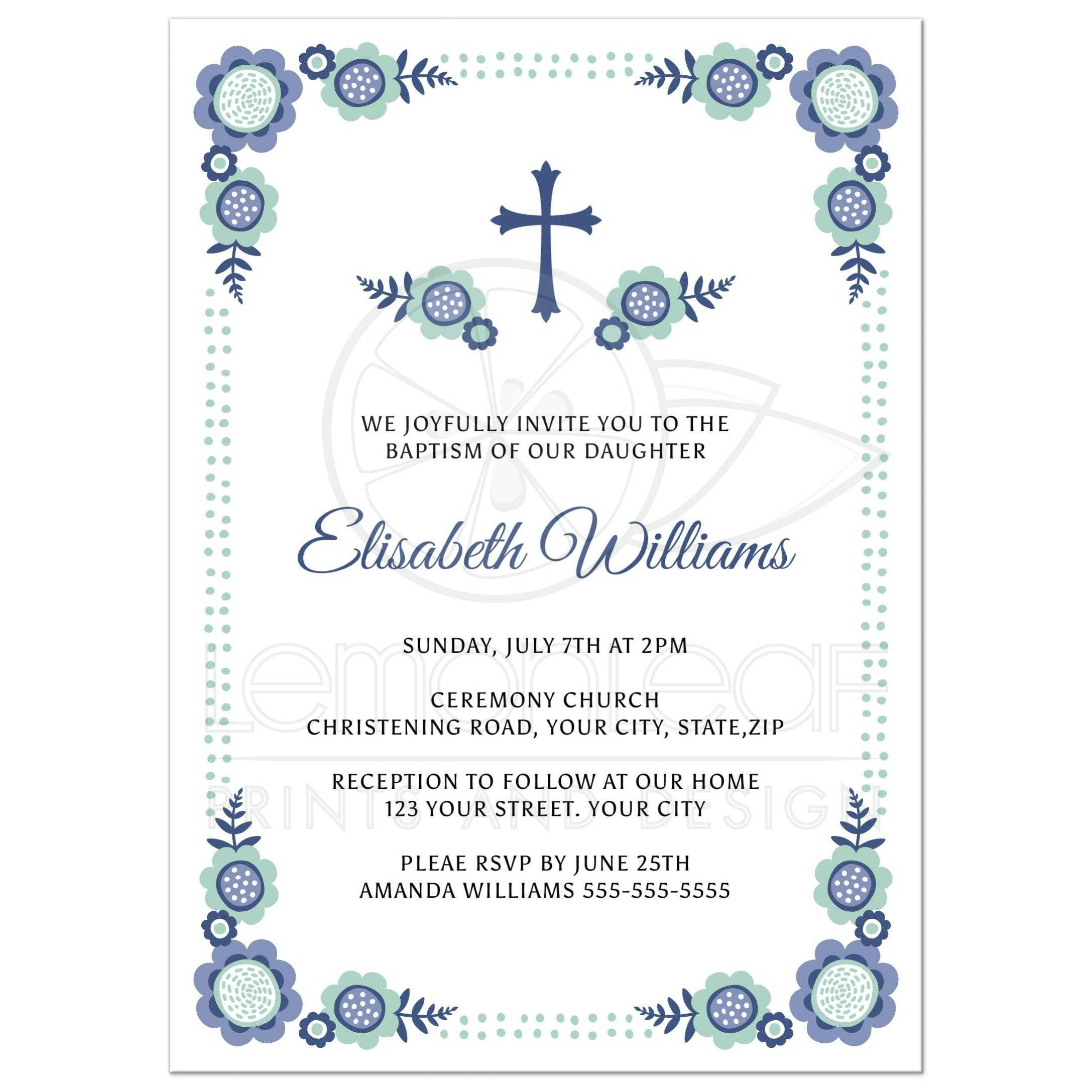 Blue Bloom Baptism Or Christening Invitation With Cute Flower Corners