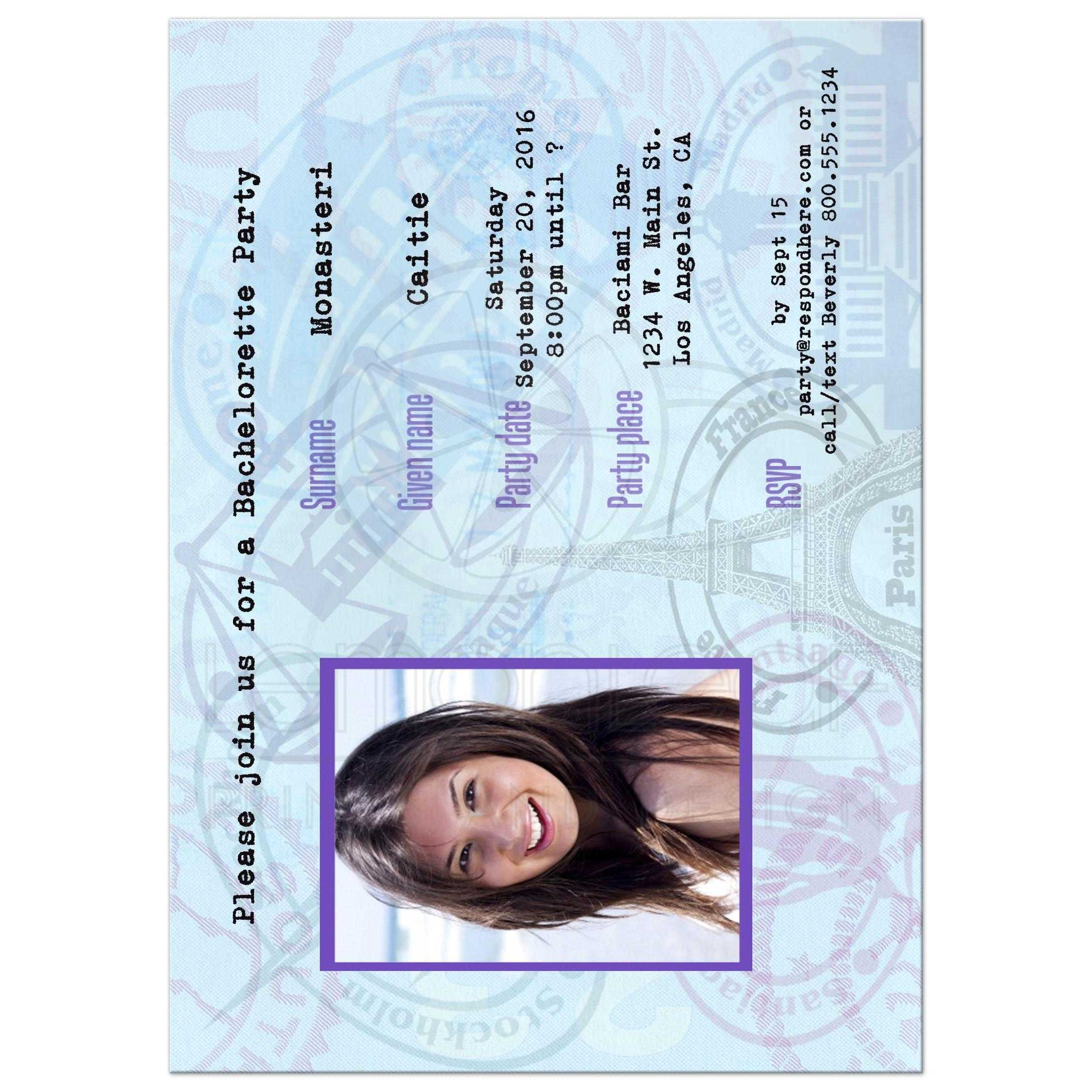 Contemporary Passport Bachelorette Party Invitation