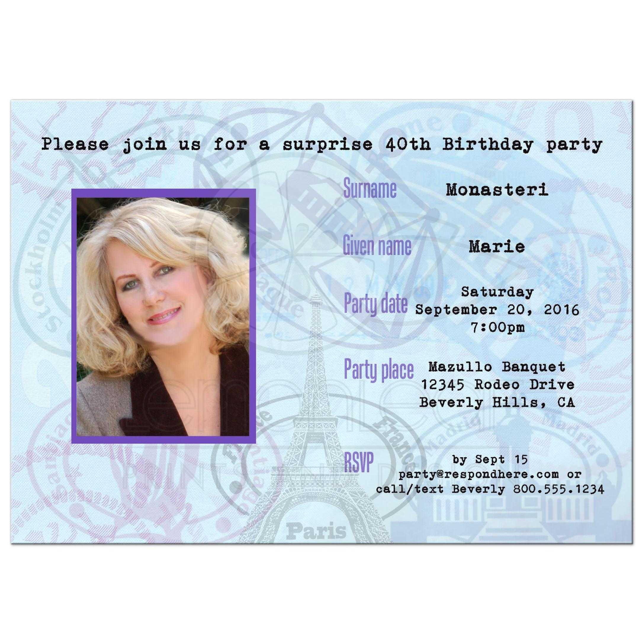 contemporary passport birthday party invitation