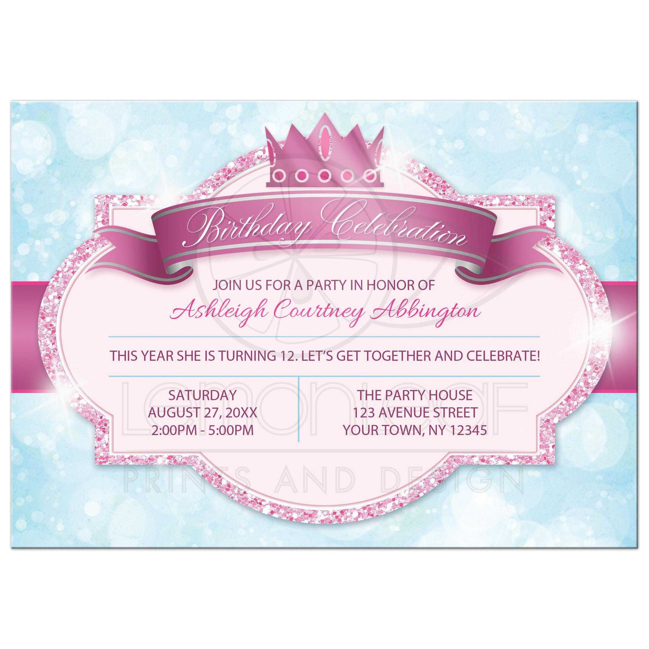 Birthday Party Invitations Royal Princess Pink Glitter Blue Girls