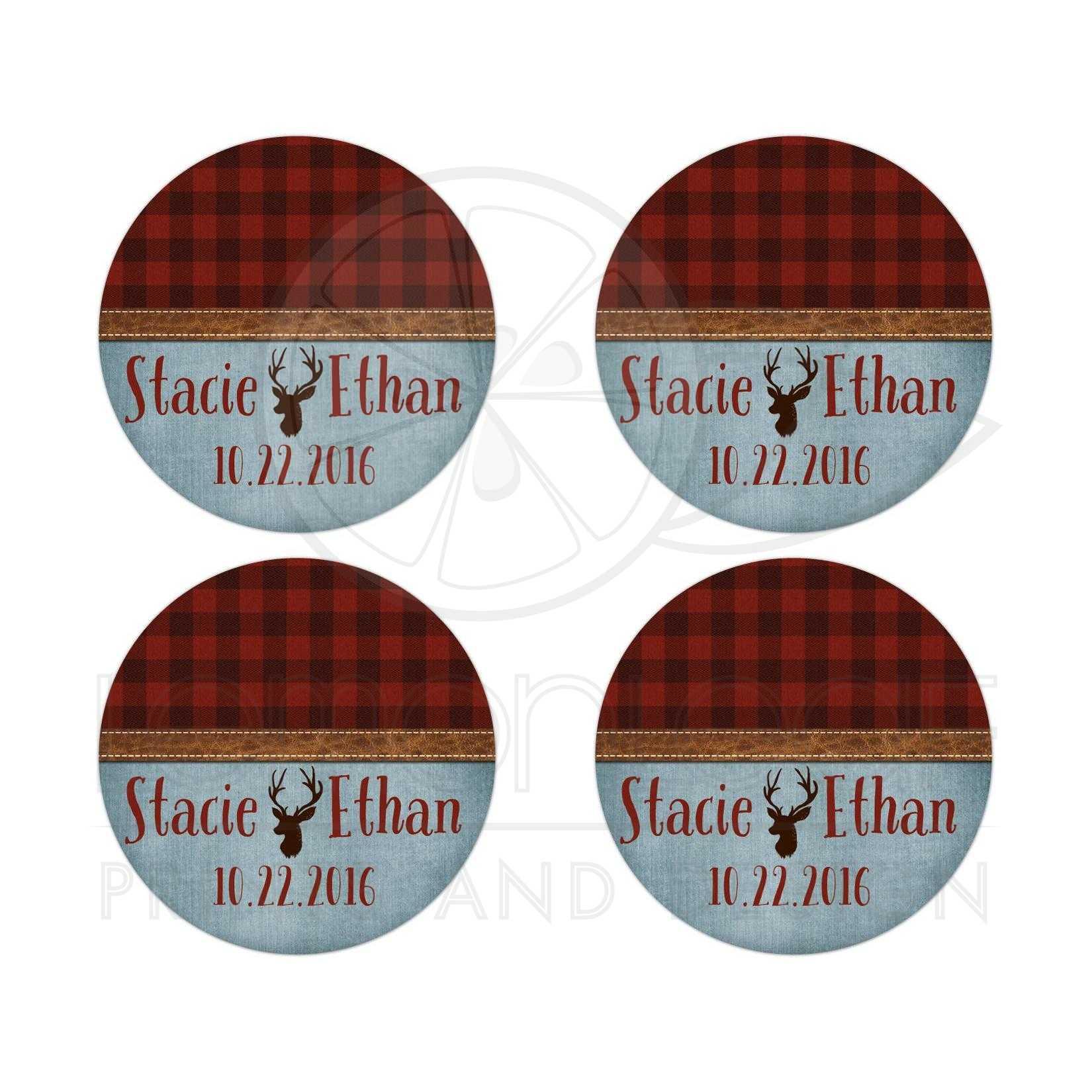 Wedding Stickers | Rustic Outdoorsy Plaid, Denim, Leather, Deer Head ...