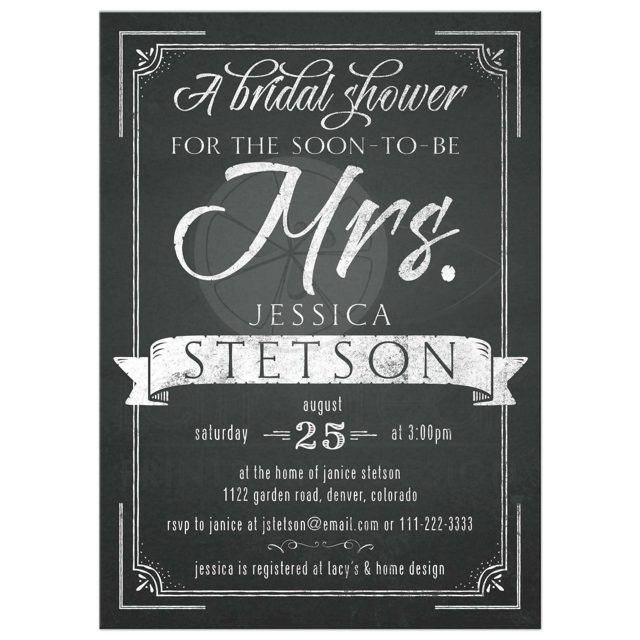 chalkboard future mrs bridal shower invitation front