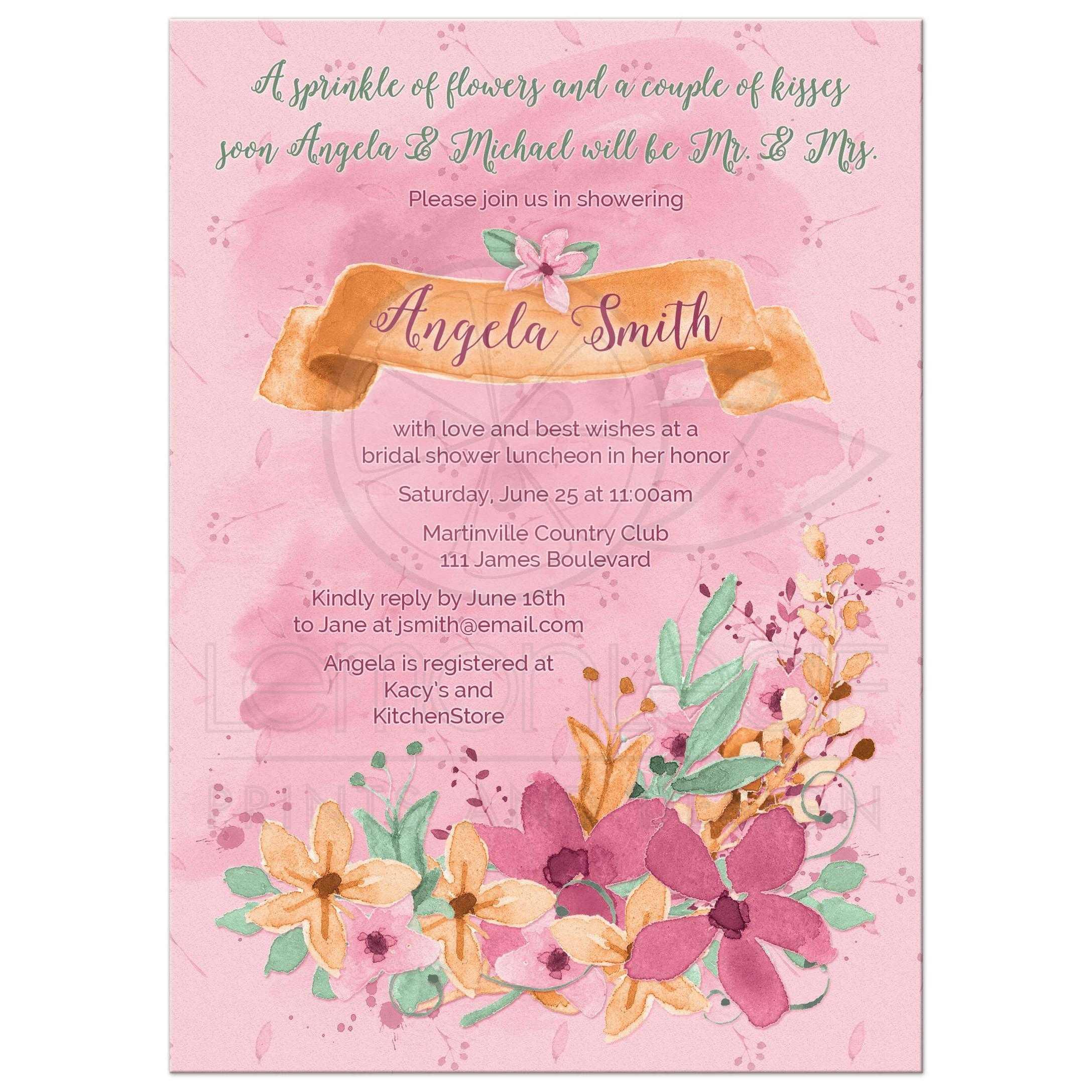 097907a1b264  Watercolor floral bridal shower invitation orange pink mint front ...