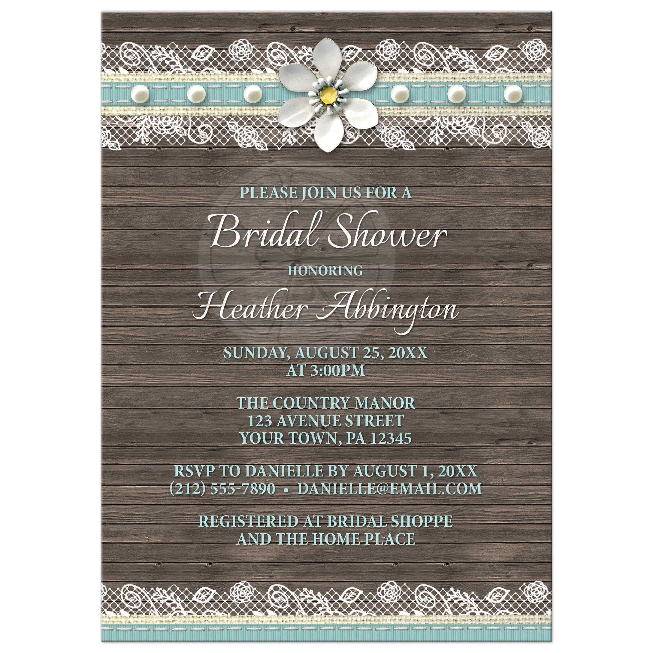 Bridal Shower Invitations Wood And Lace Turquoise