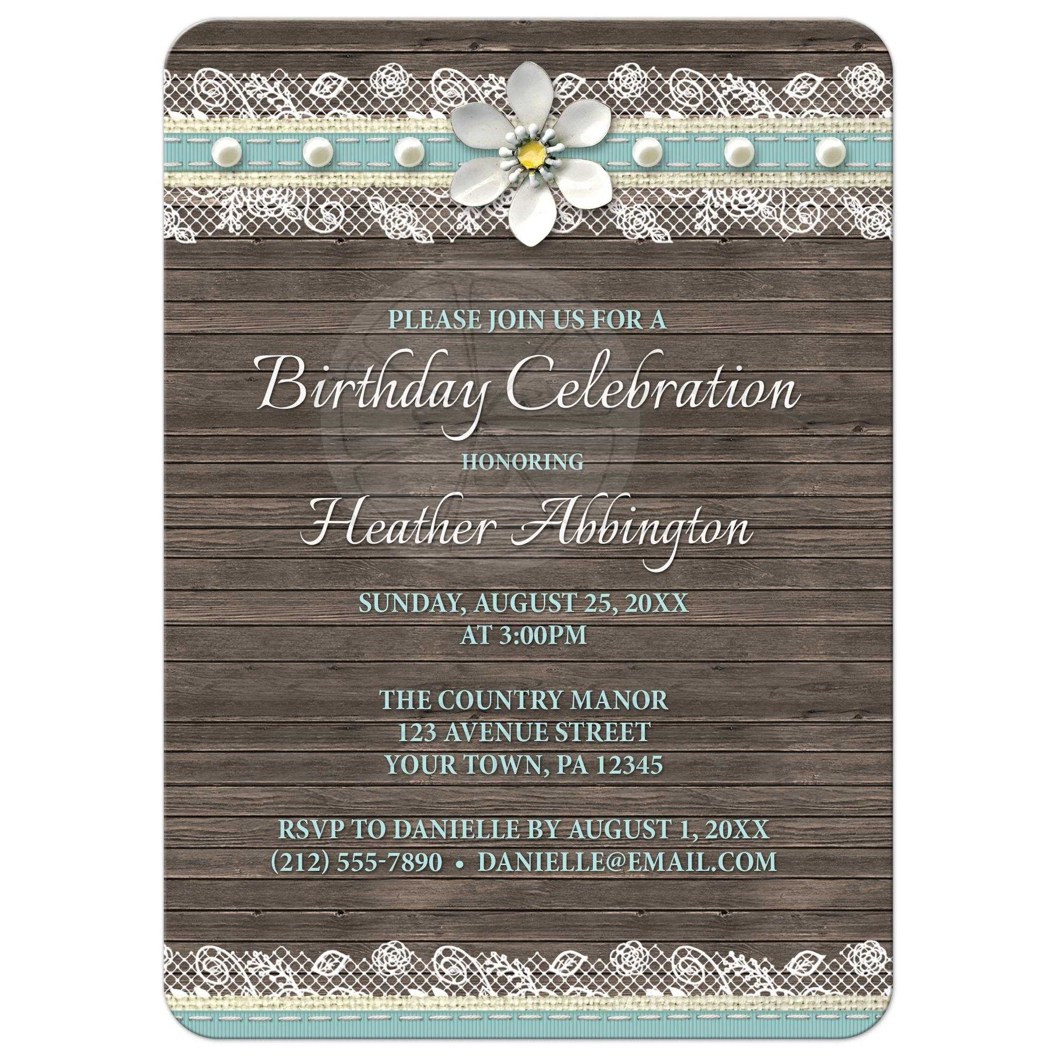 Birthday invitations wood and lace turquoise filmwisefo