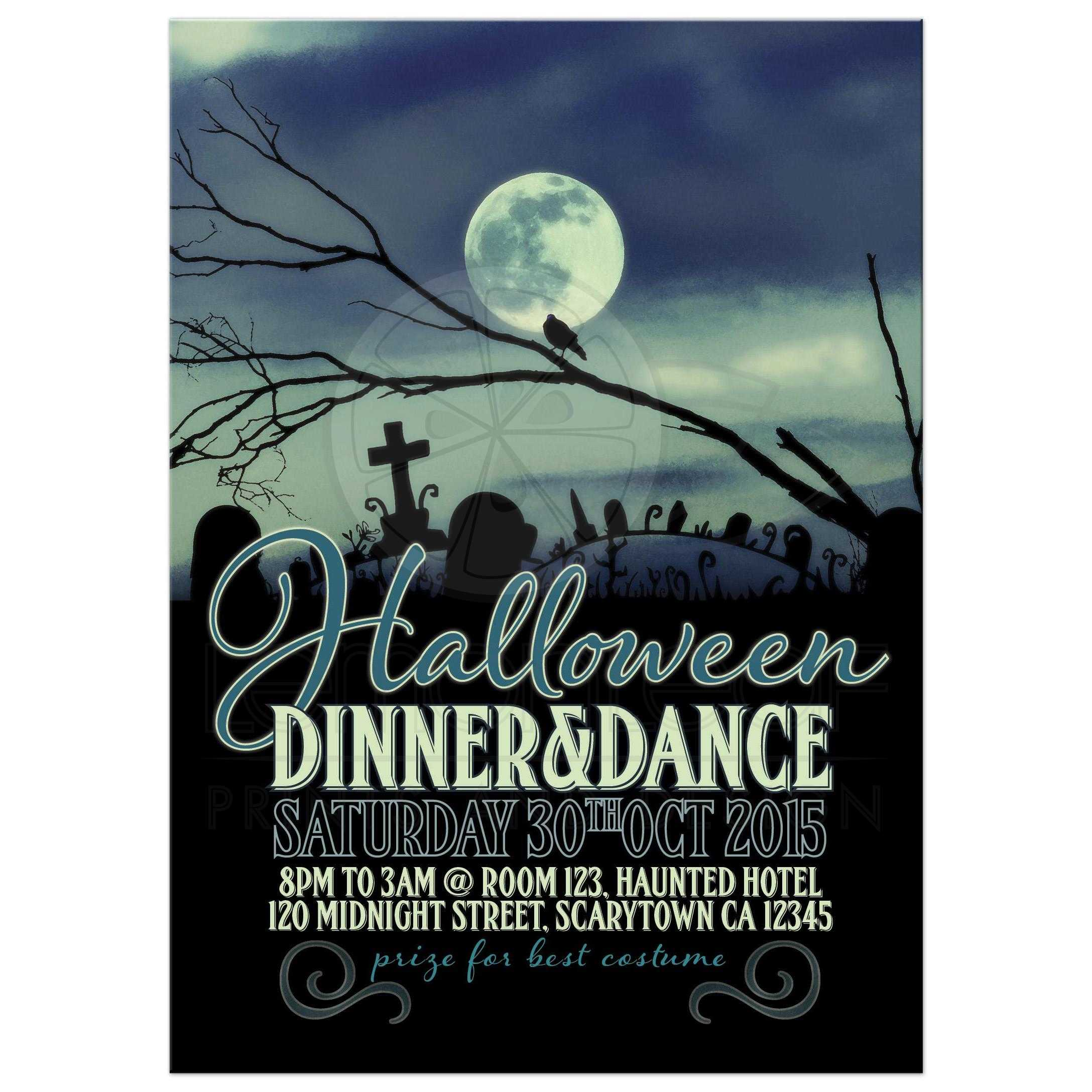 Sweet Darkness Full Moon Halloween Party Invite Card