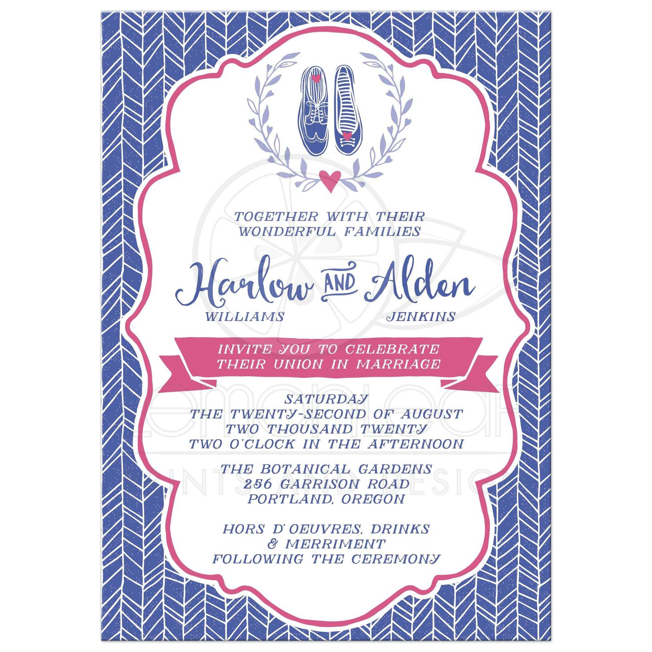 Cute Hipster Shoes Wedding Invitations Front