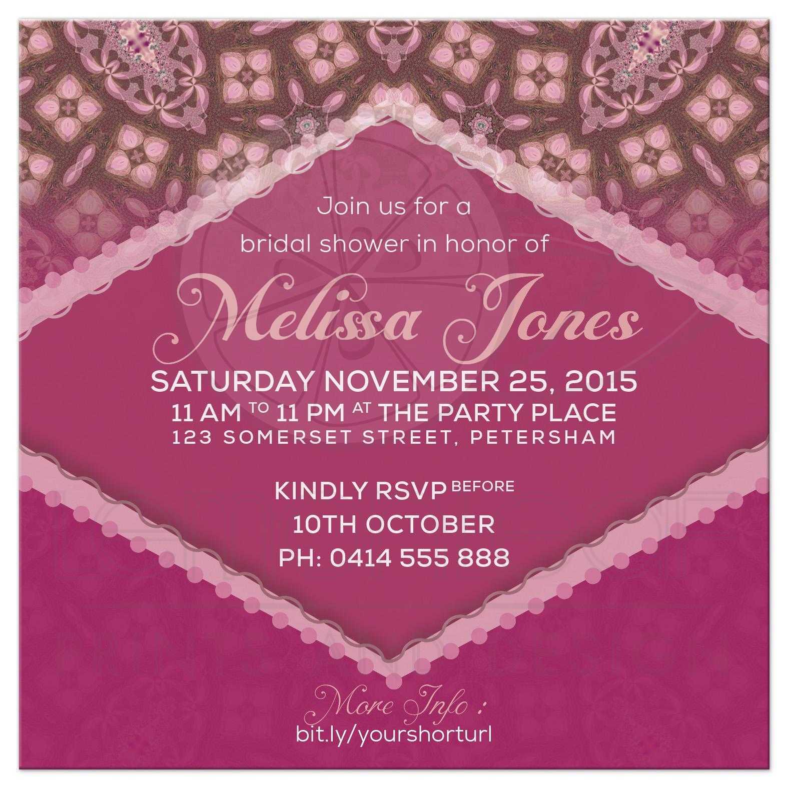 Cottage Chic Pink Bridal Shower Invitation
