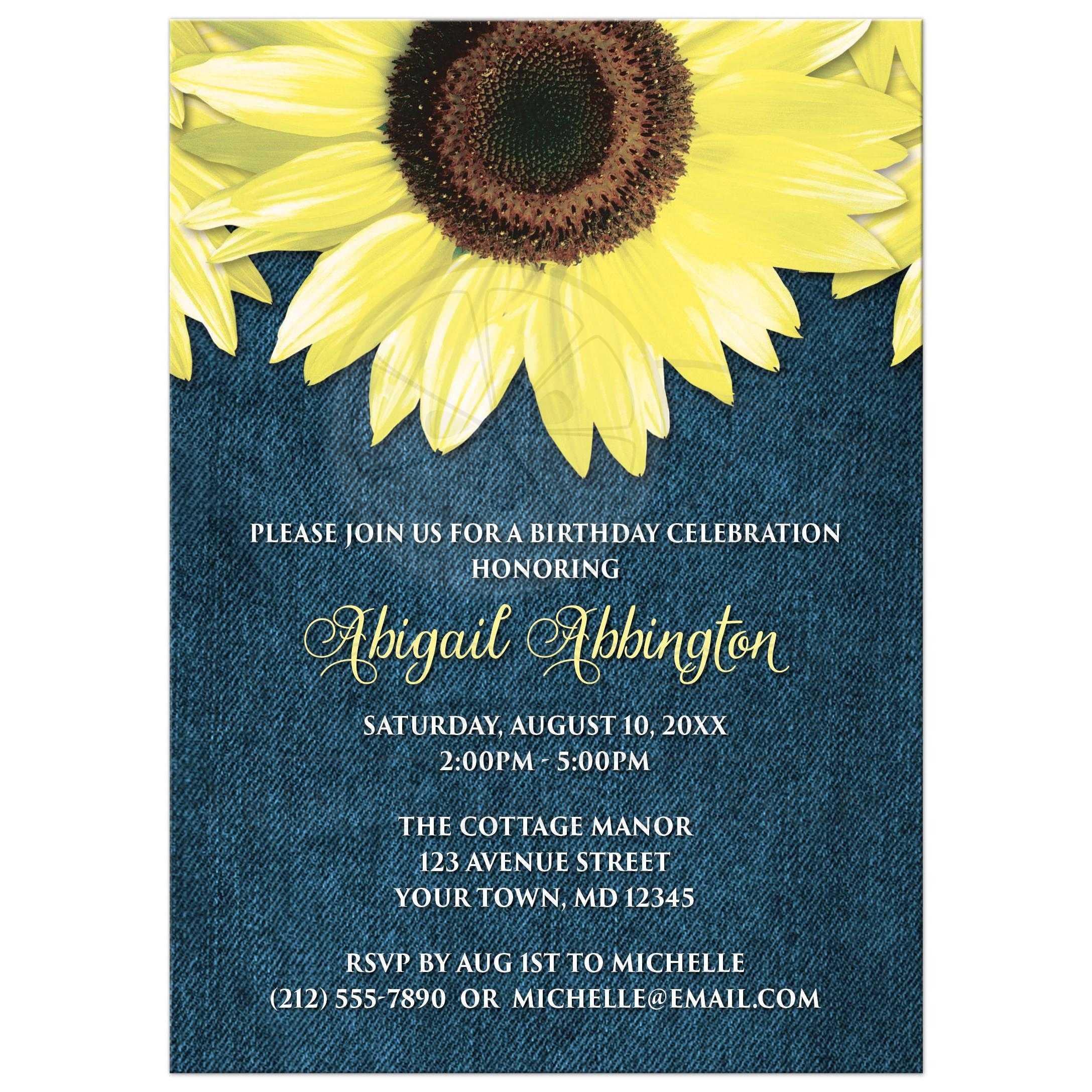 birthday invitations rustic sunflower and denim
