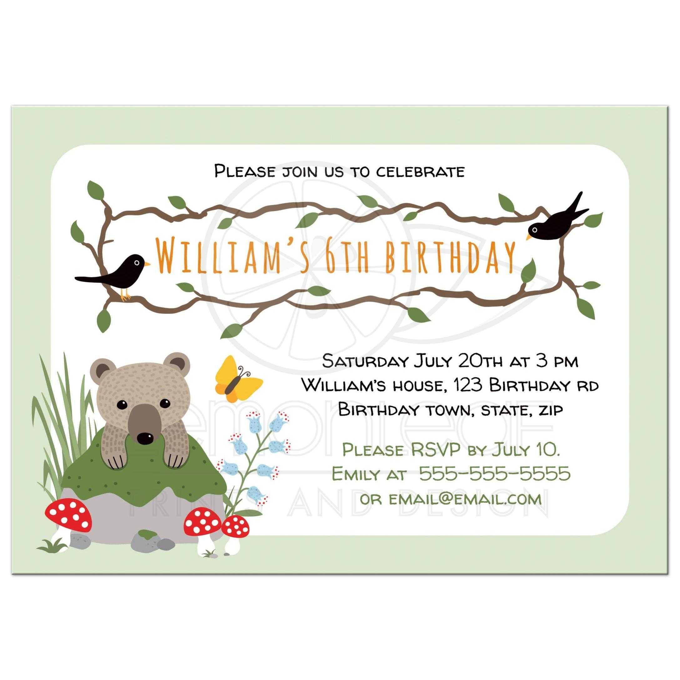 Cute woodland birthday party invitation with bear cub behind mossy rock