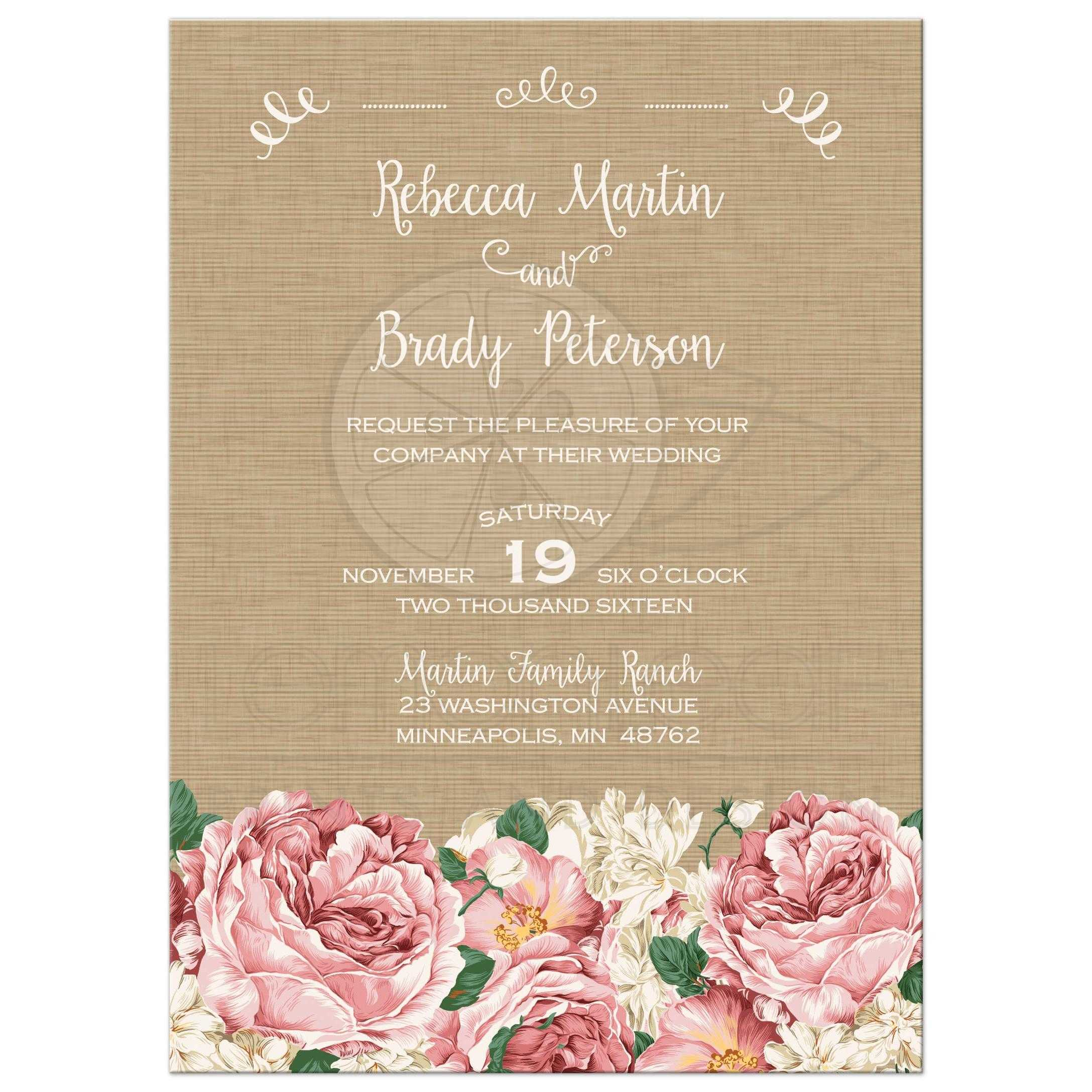 Rustic Pink And White Peony Fl Wedding Invitation