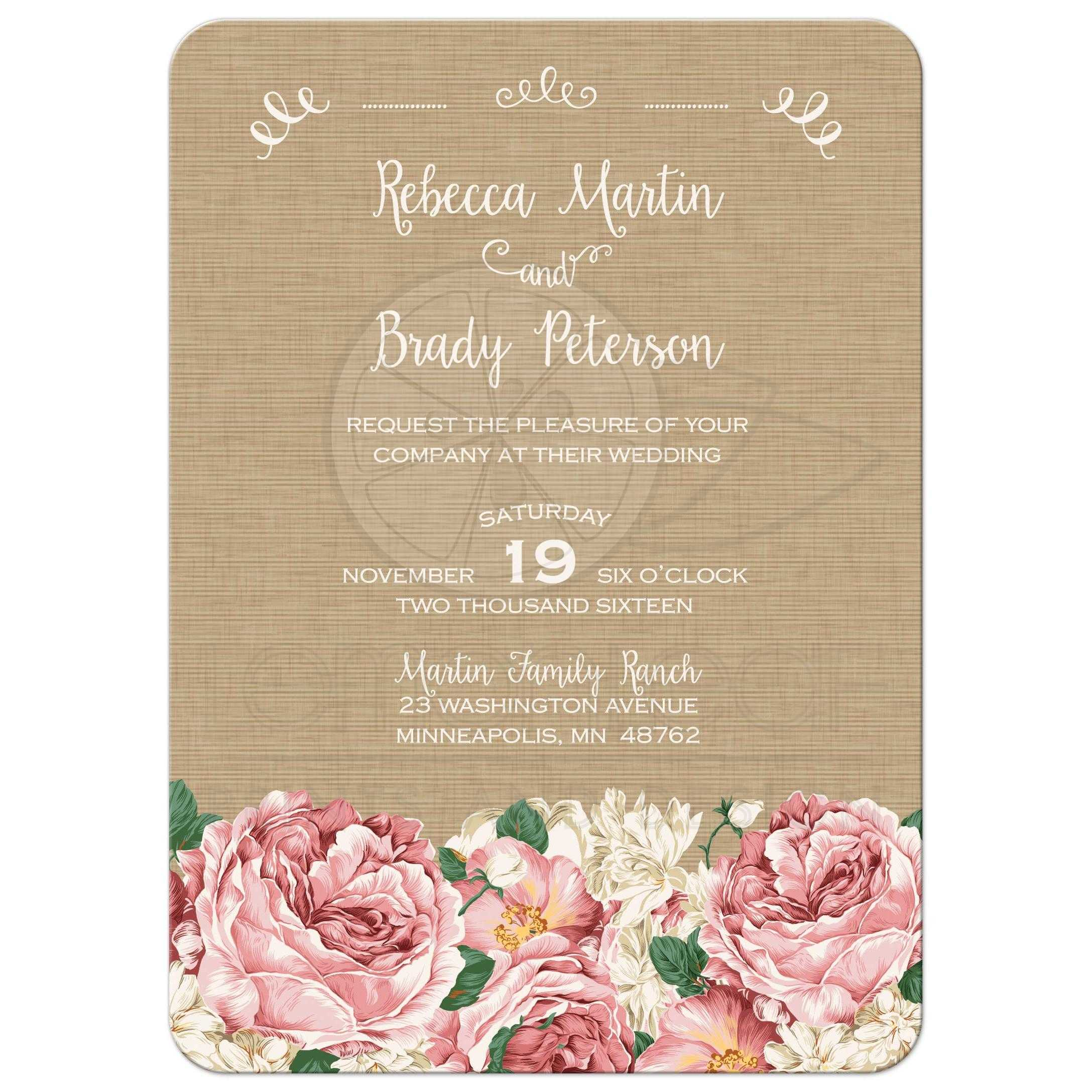 Wedding Invitation - Rustic Pink Peony Flowers on Canvas Texture