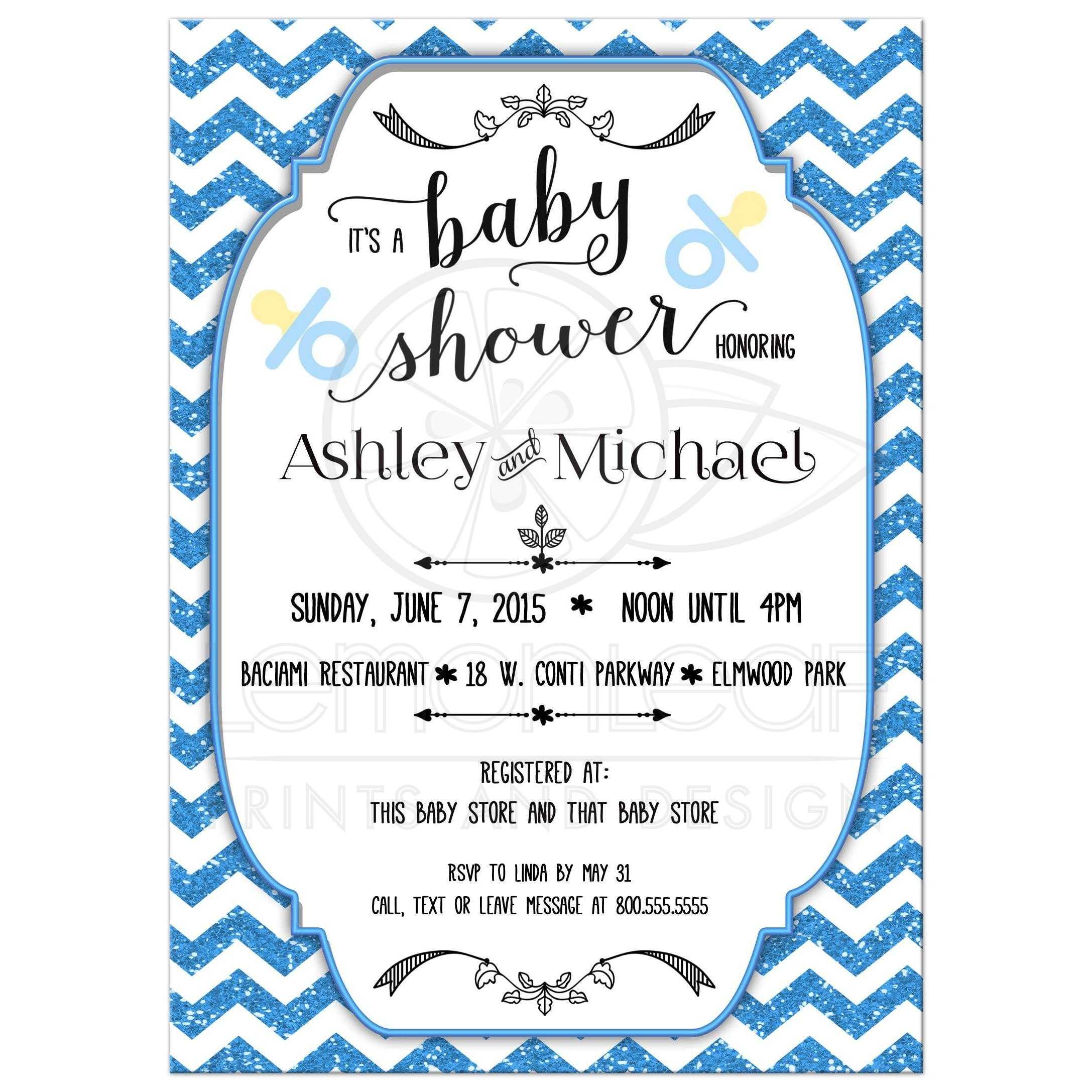 Blue Glitter Chevron Baby Shower Invitation