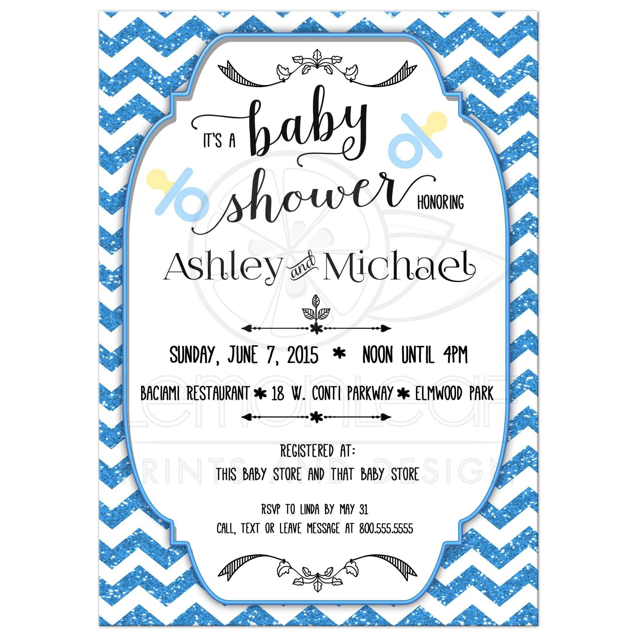 Trendy blue glitter chevron baby shower invitation filmwisefo