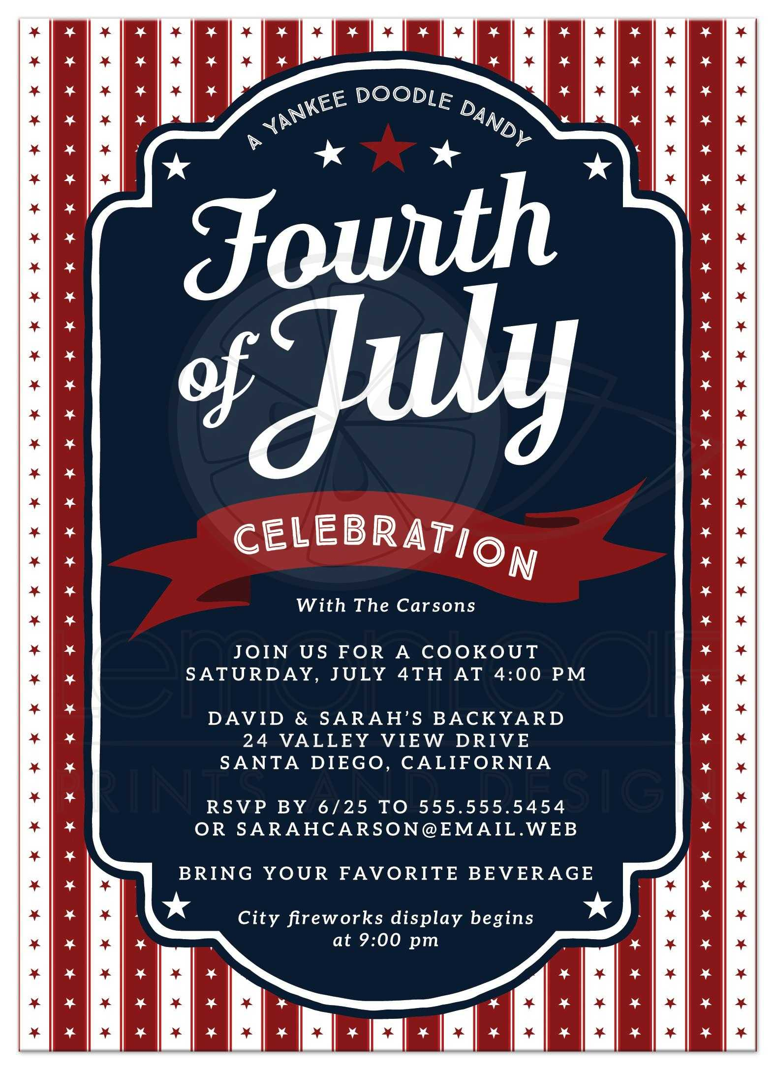 Fourth of July Party Invitation - Stars & Stripes