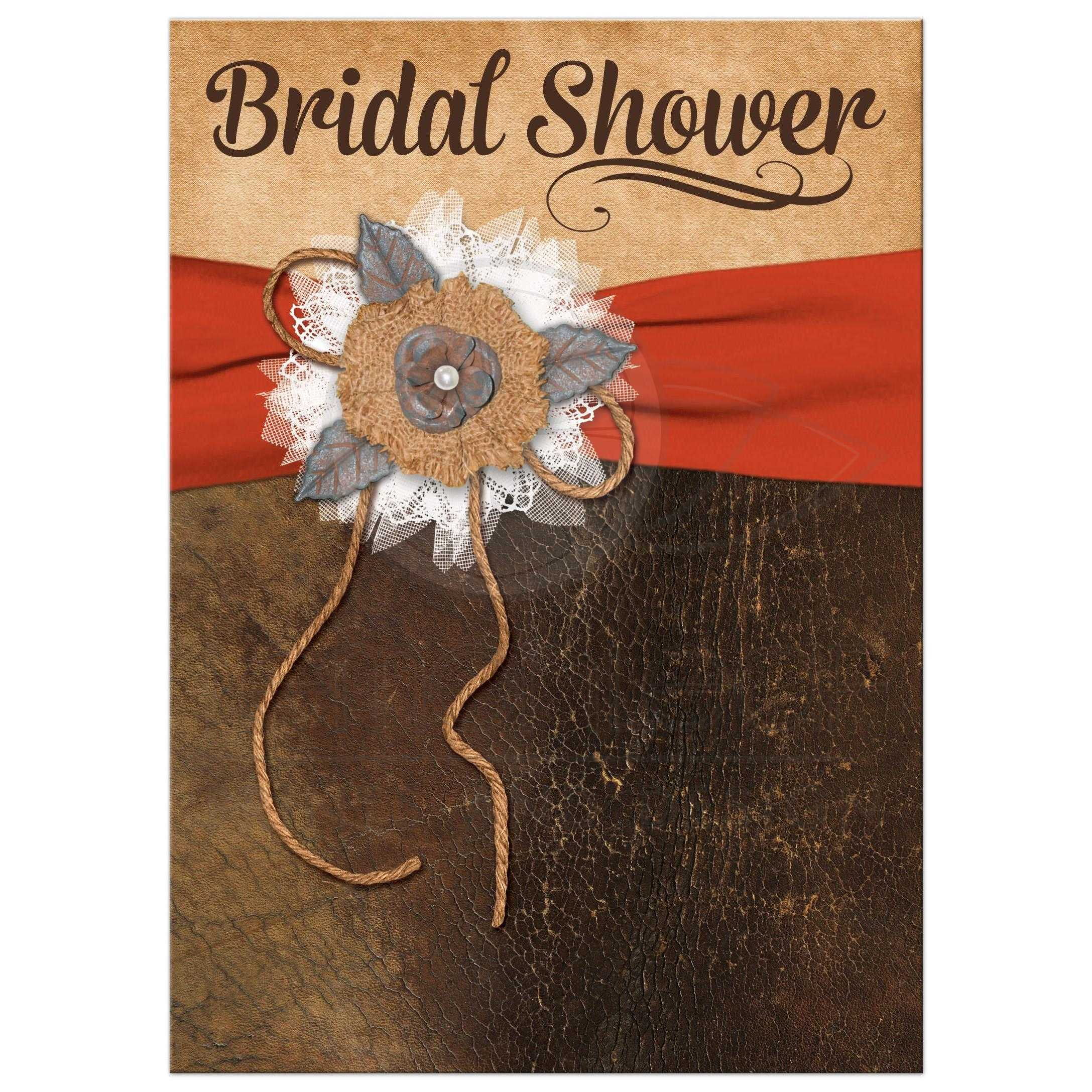 Bridal Shower Invite | Leather & Lace | Orange, Brown | Shabby Chic ...