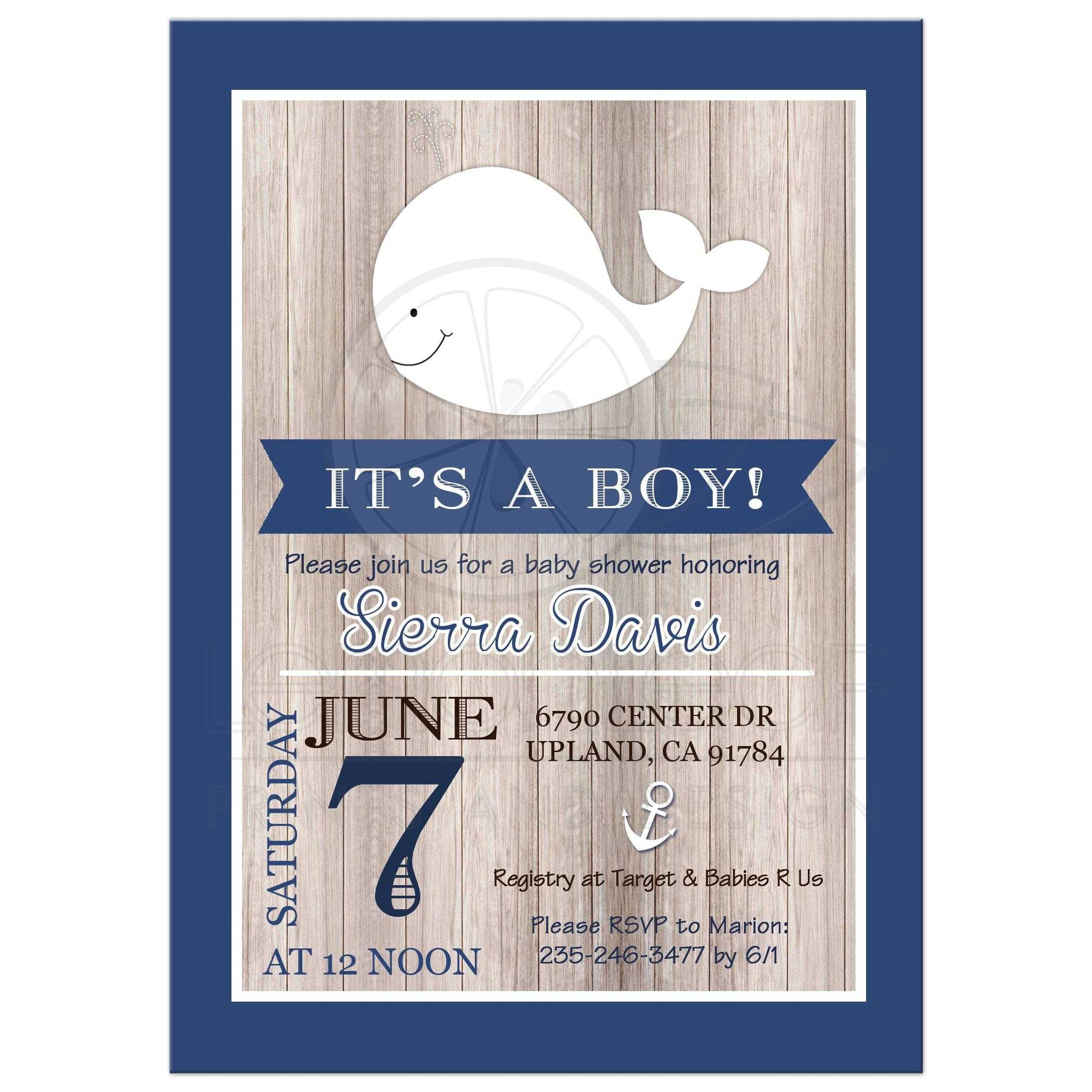 Navy Blue And White Rustic Whale Nautical Baby Shower Invitation ...