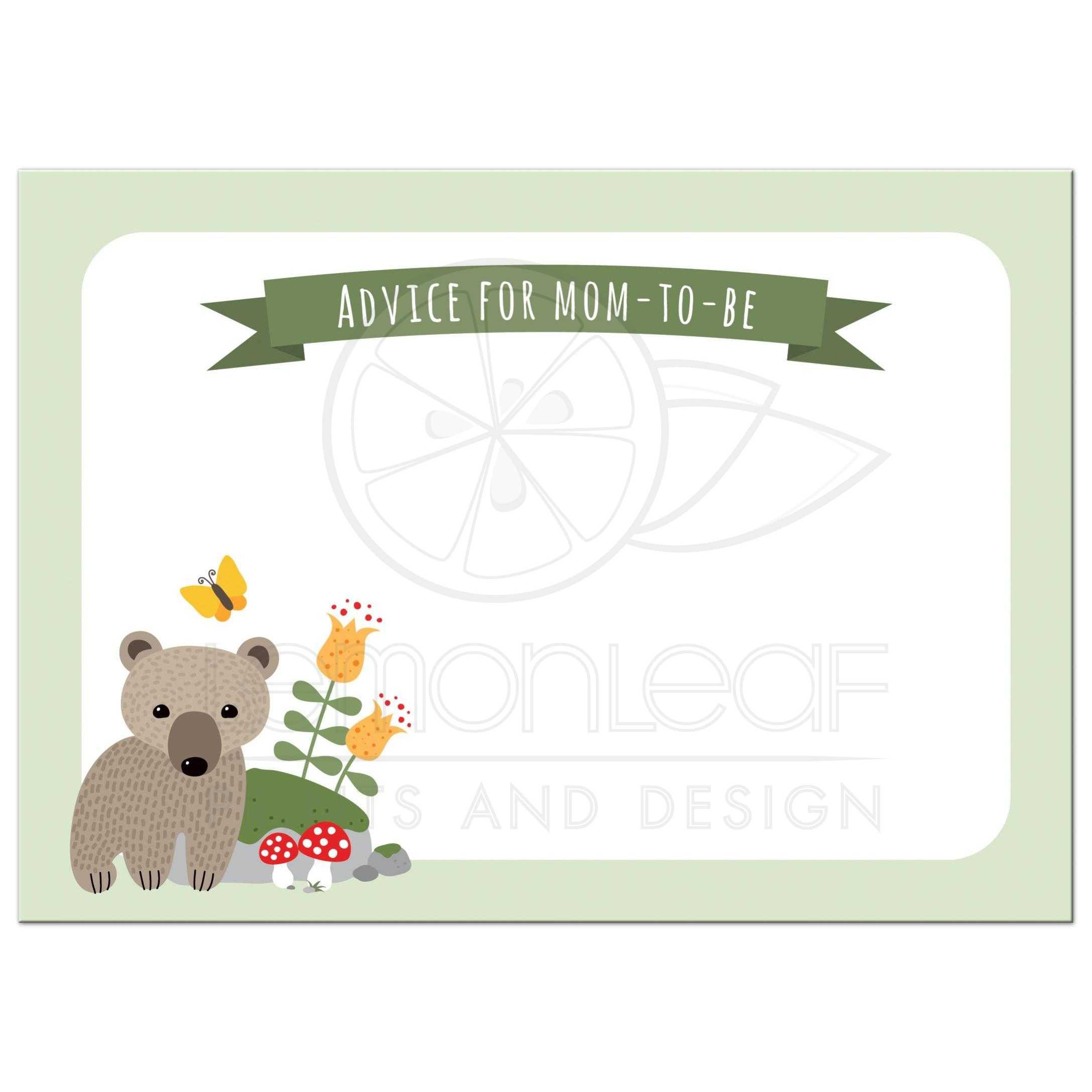 Cute woodland themed baby shower mommy advice card with bear cub