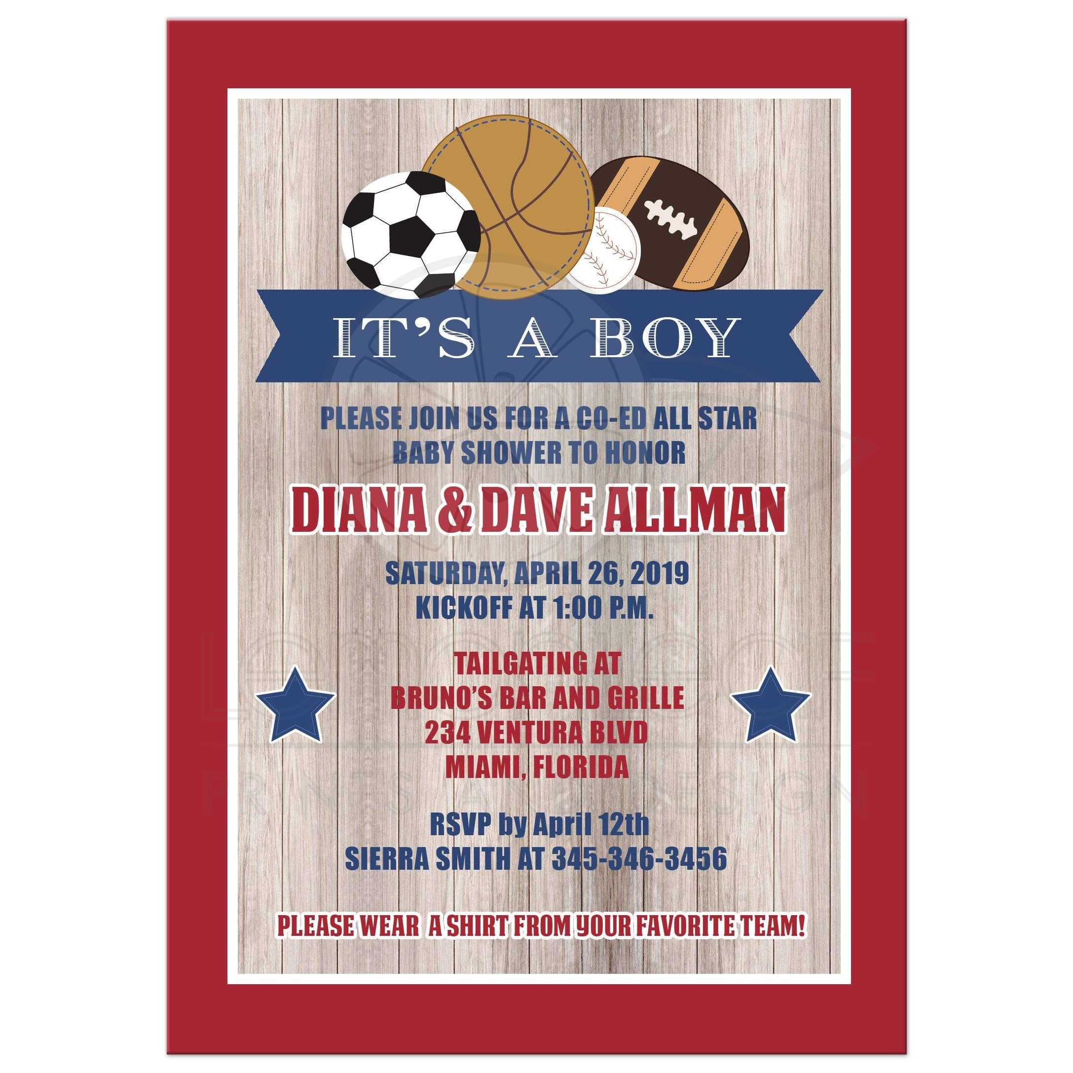 All Stars Sports Rustic Baby Shower Invitation ...