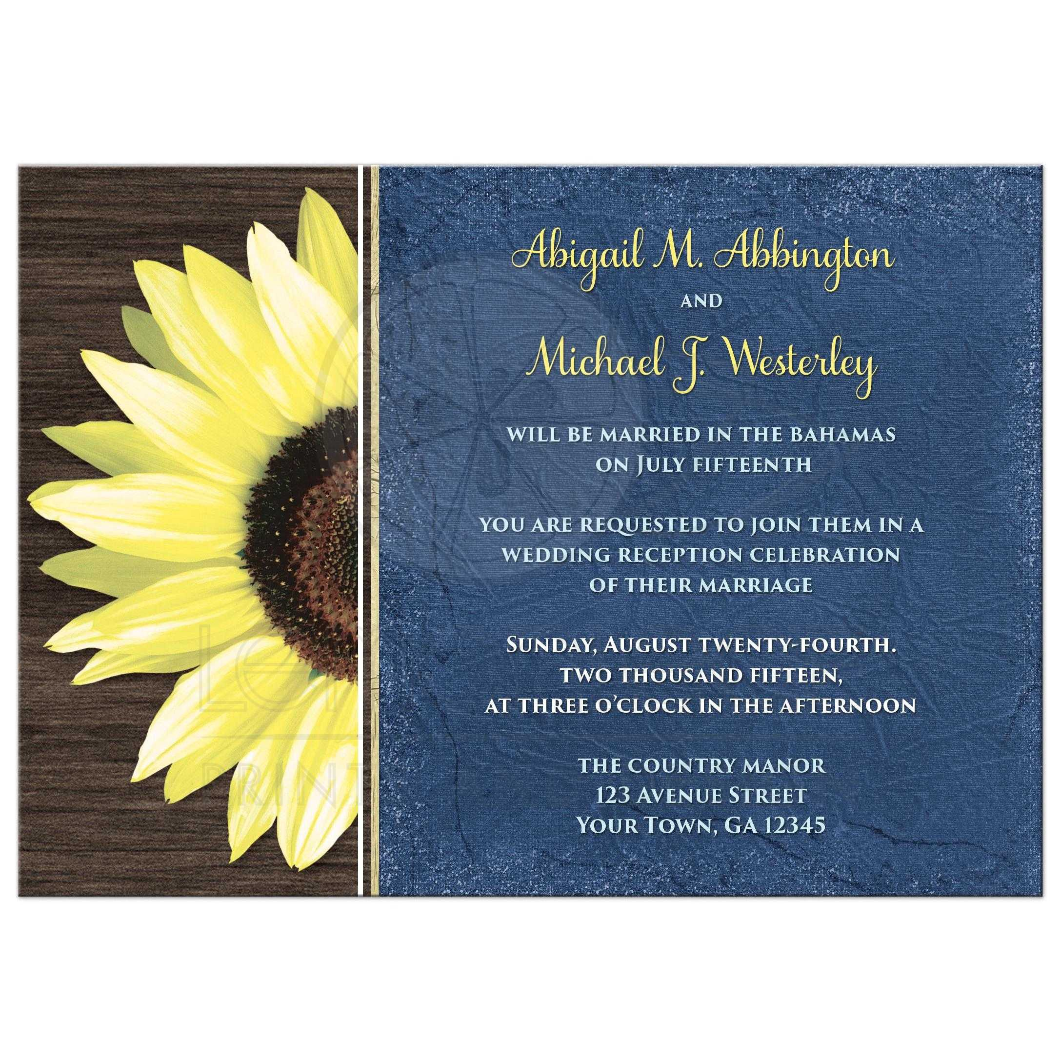 Reception Only Invitations - Rustic Sunflower and Blue