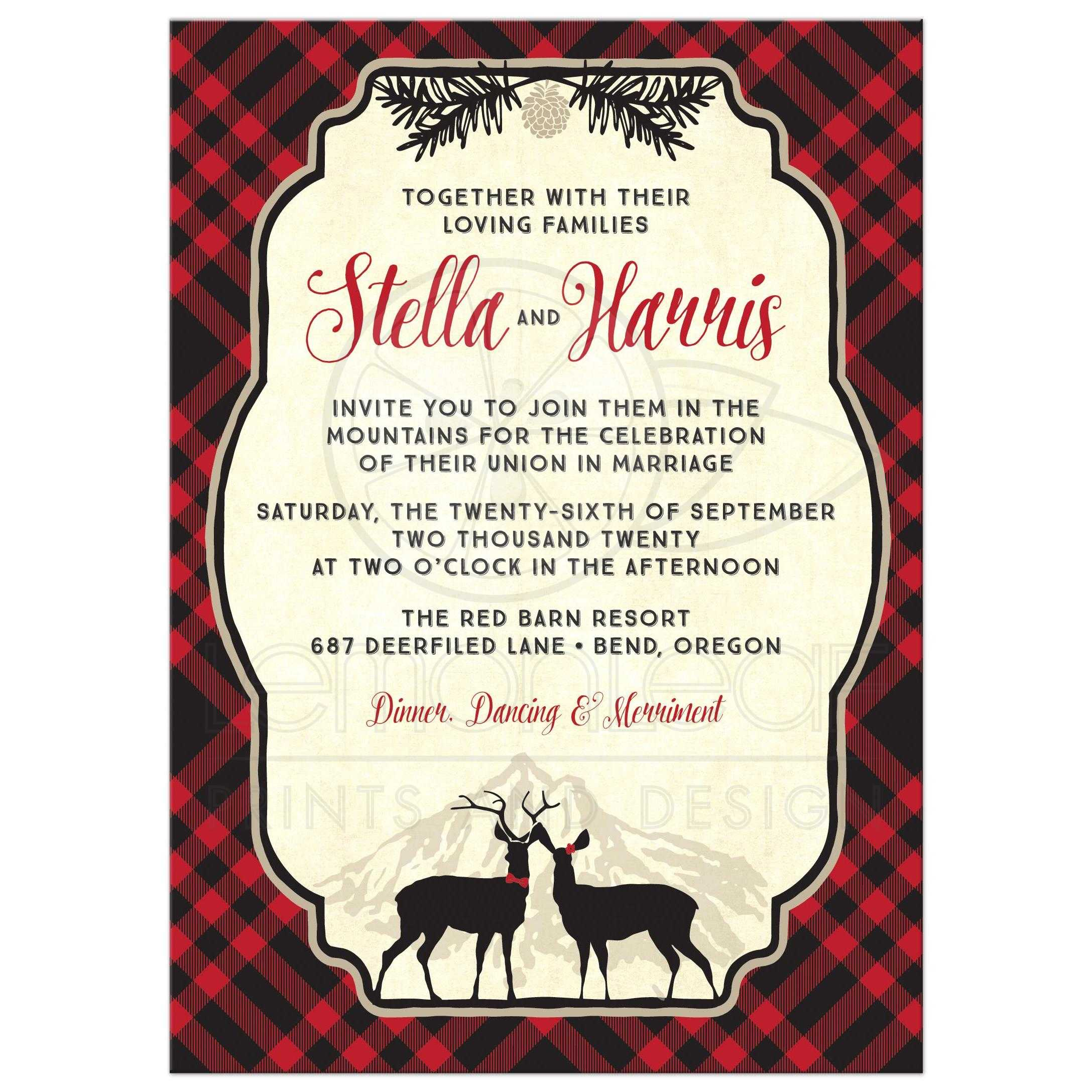 Plaid Mountain Hipster Wedding Invitations Front