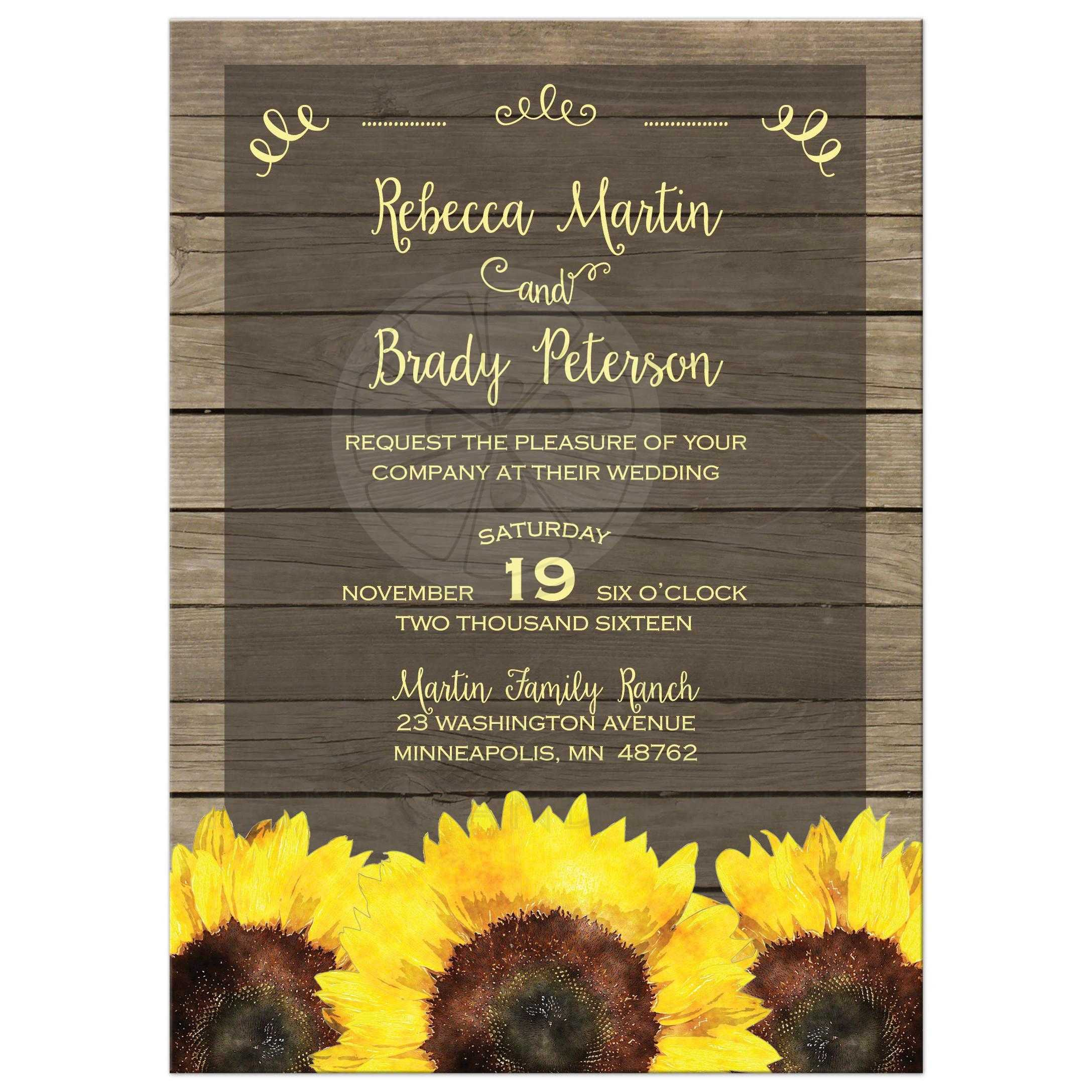 Wedding Invitation - Rustic Yellow and Brown Sunflowers on Wood Planks