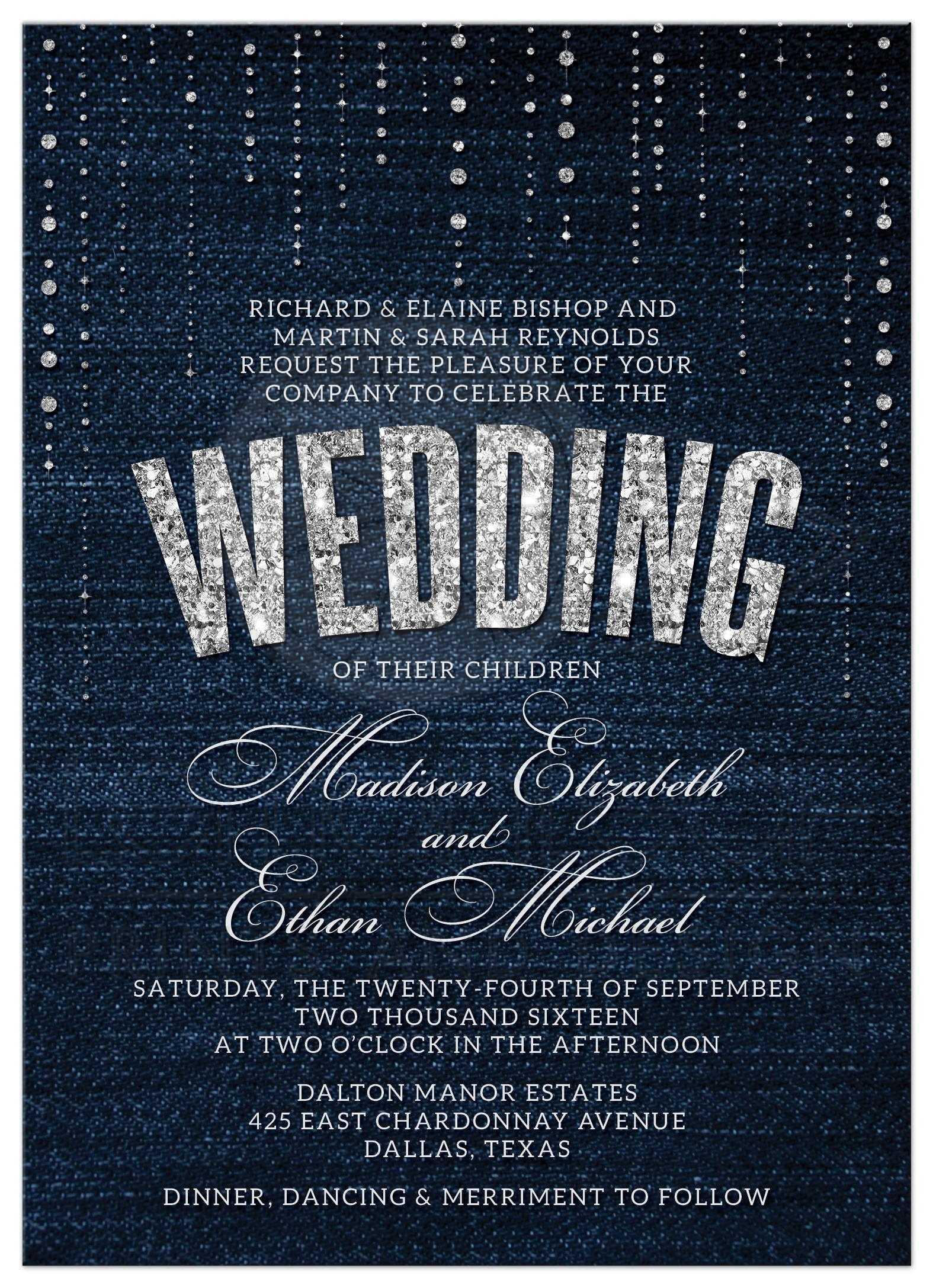 Wedding invitations denim diamonds denim diamonds wedding invitations front stopboris Choice Image
