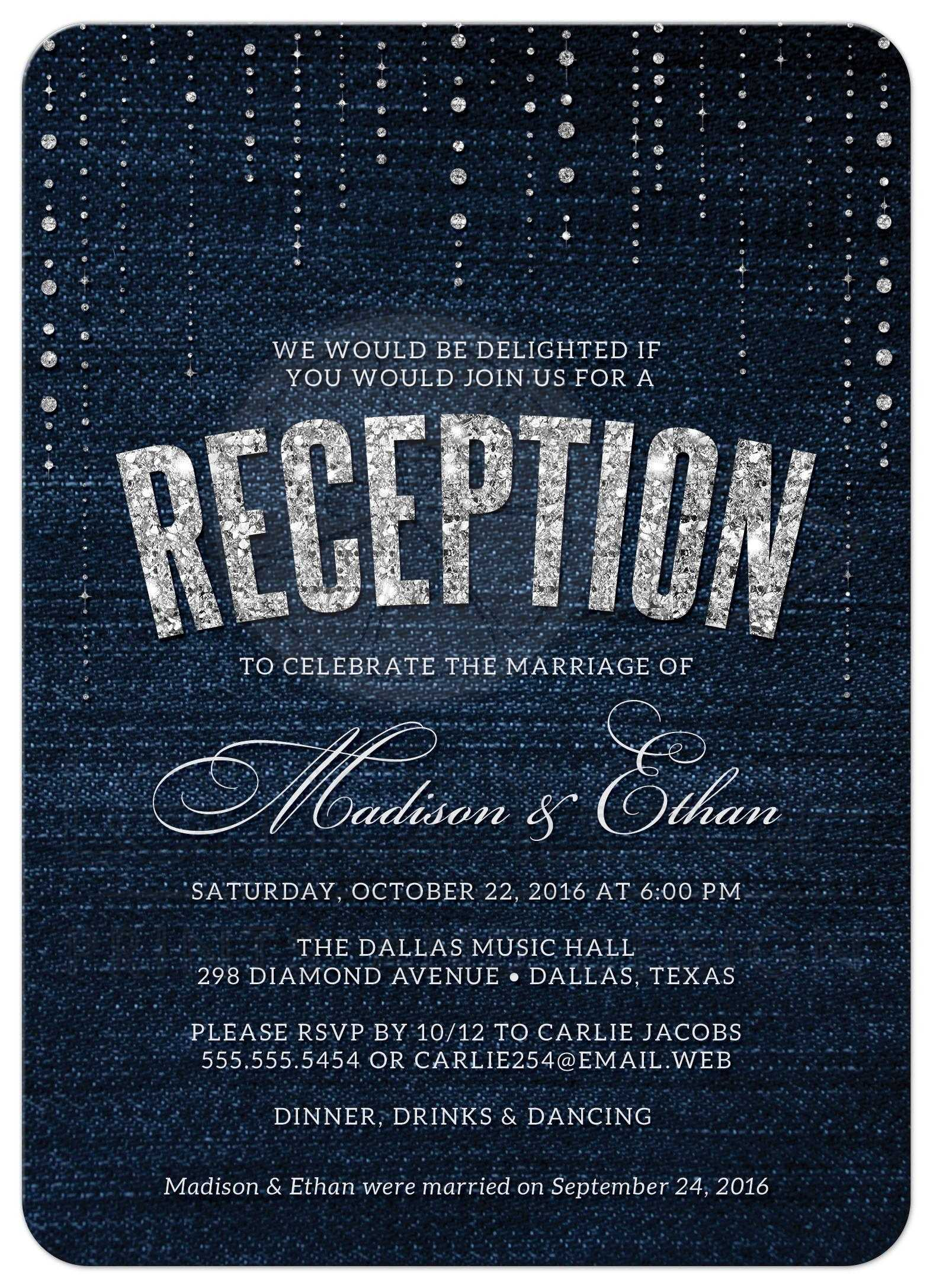Post wedding reception only invitations denim diamonds denim diamonds post wedding reception invitations front junglespirit Choice Image