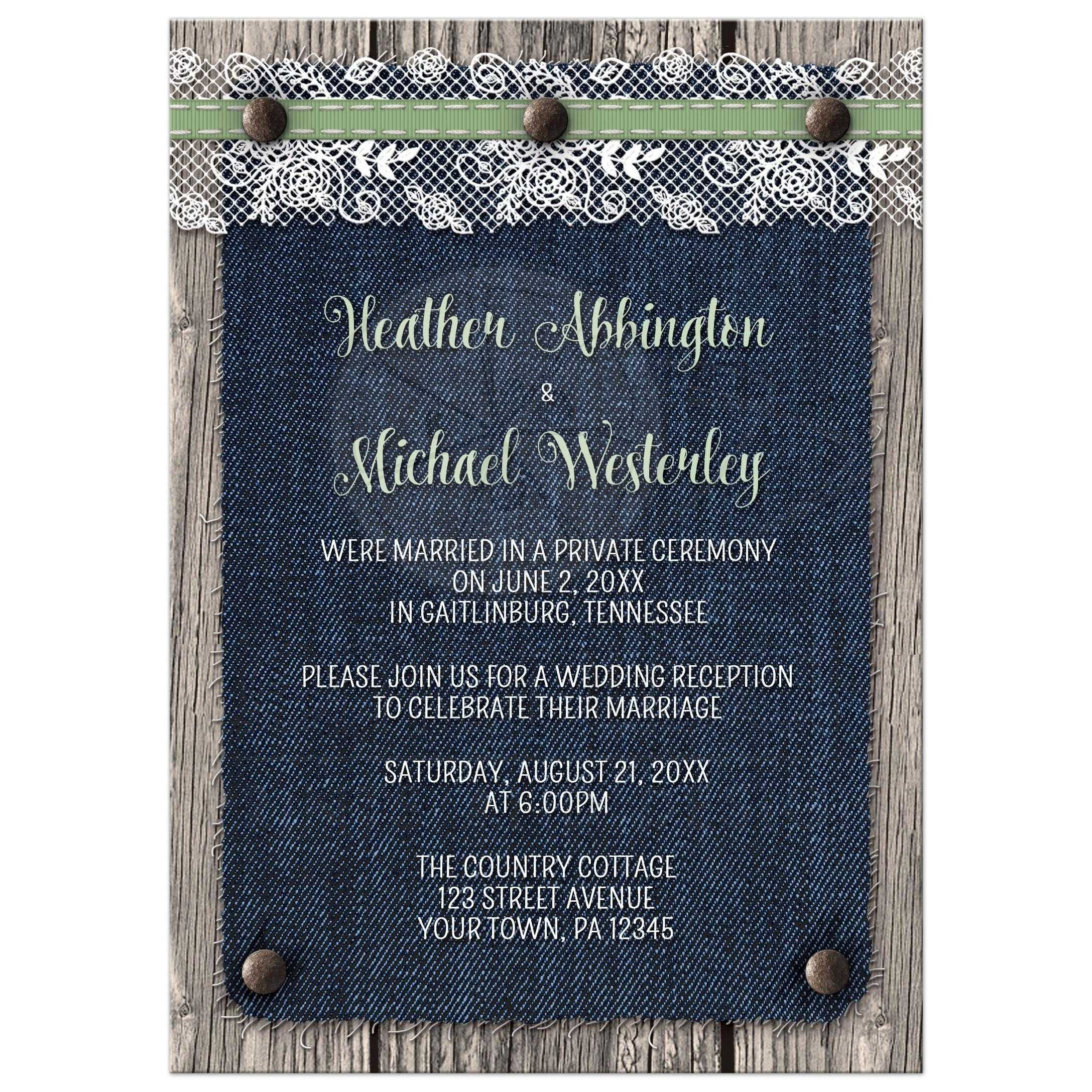Reception Only Invitations Denim Wood Country Rustic