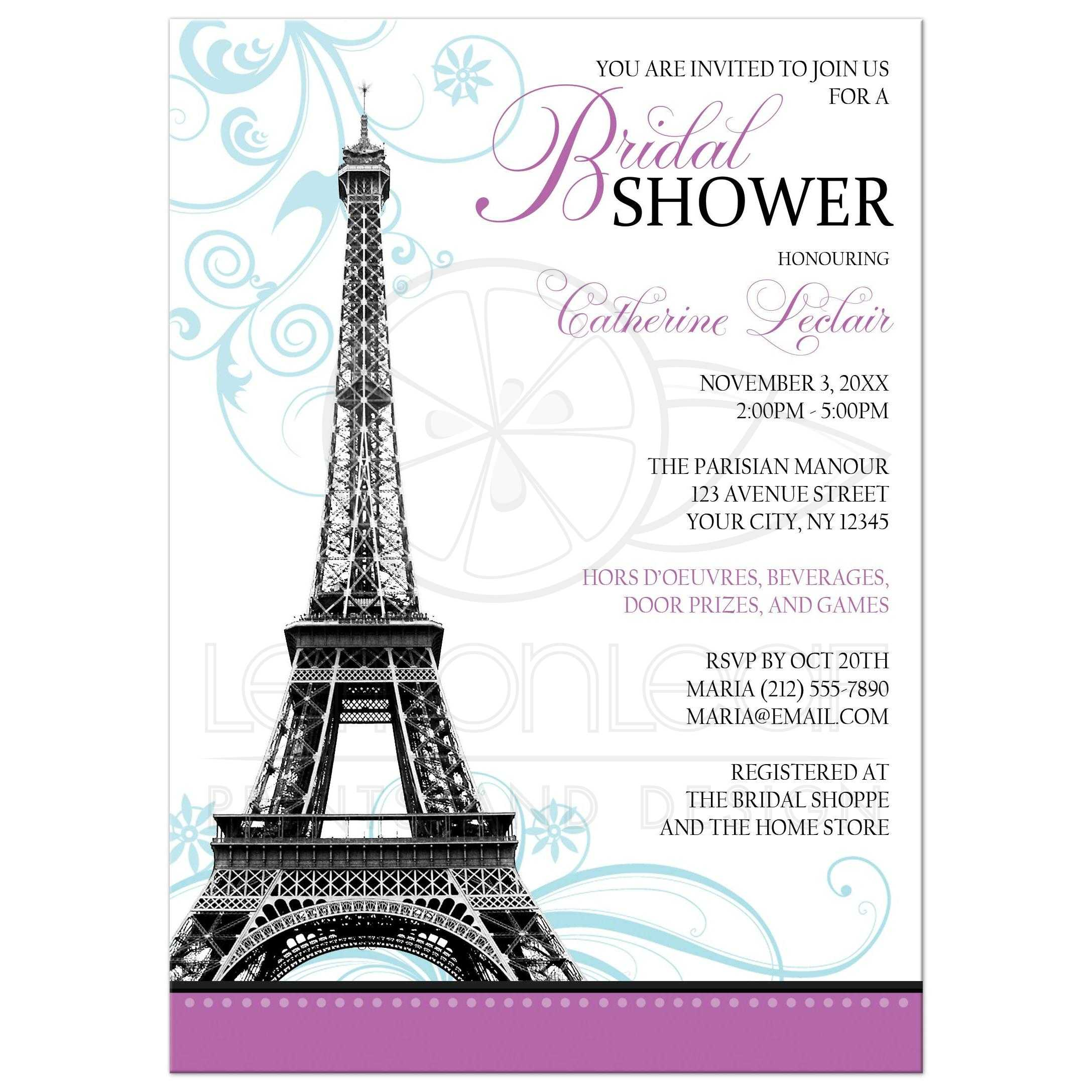 Bridal Shower Invitations - Modern Eiffel Tower Parisian