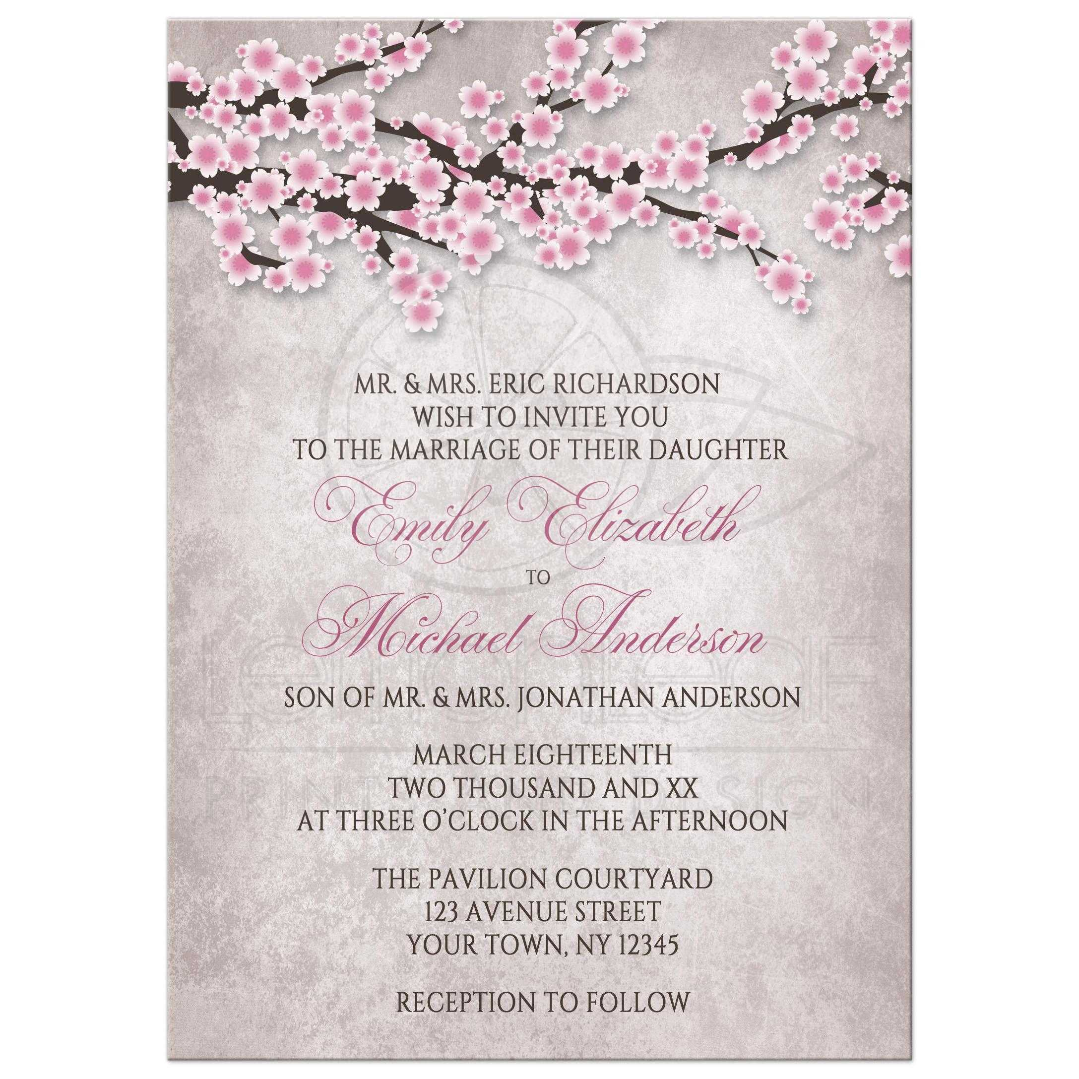 invitations - rustic pink cherry blossom, Wedding invitations