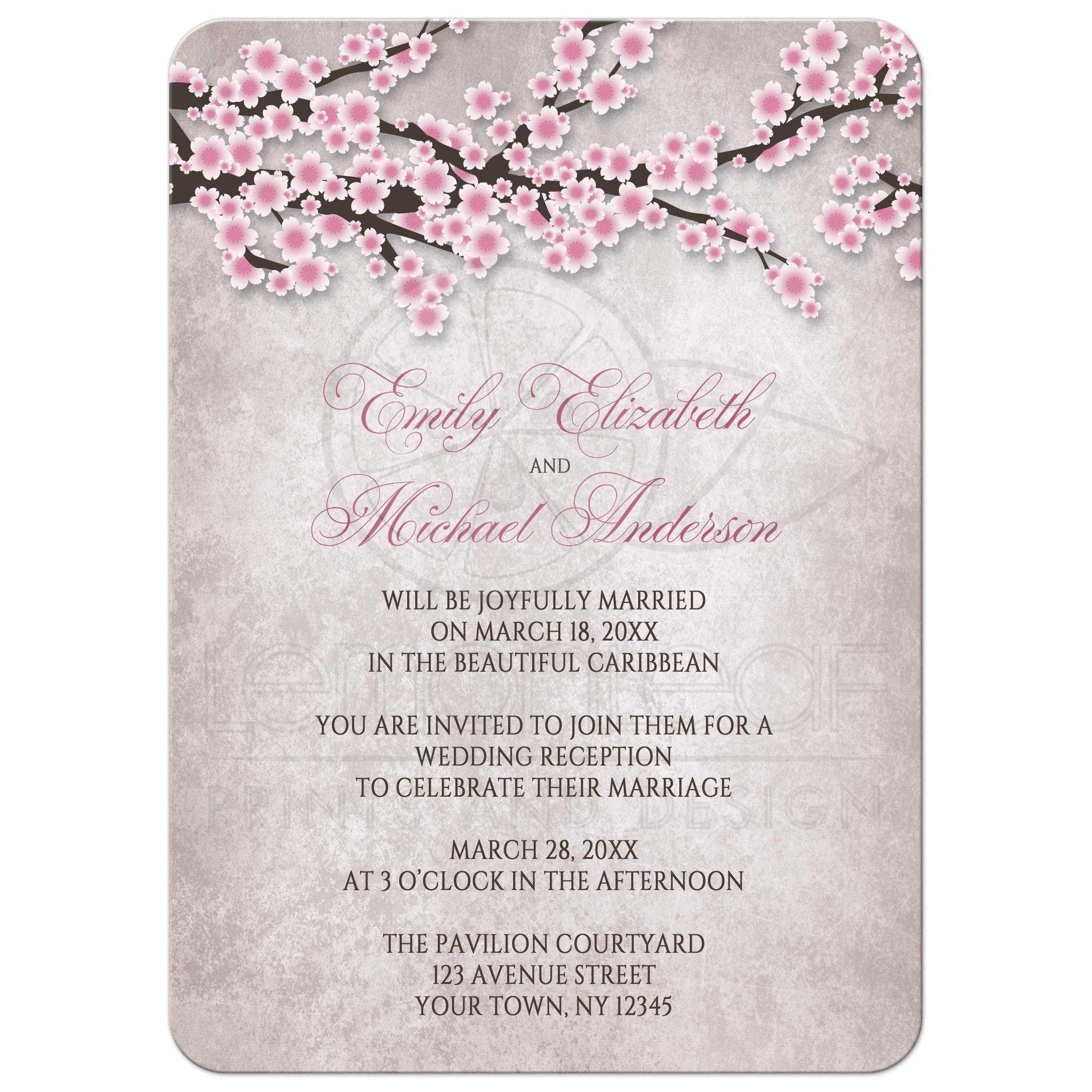 reception only invitations rustic pink cherry blossom