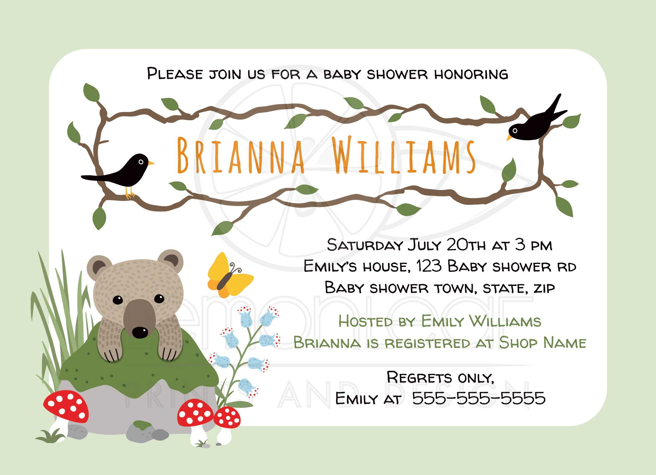 Cute woodland baby shower invitation with bear cub behind mossy rock