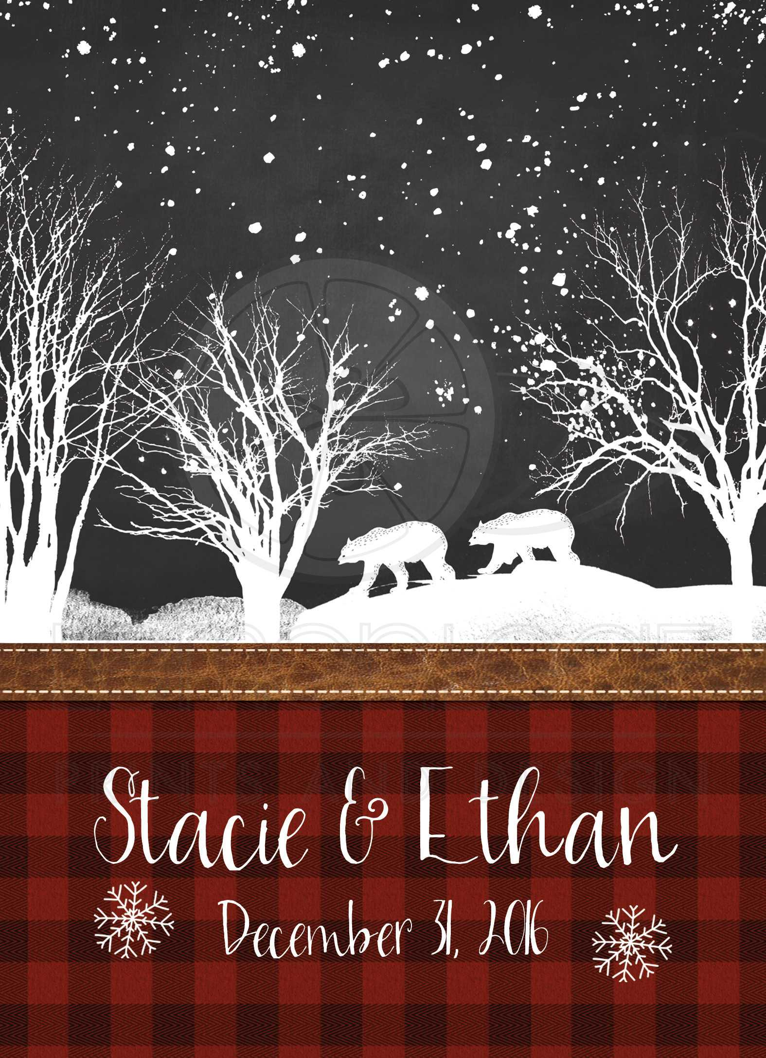Wedding Invitation | Rustic Plaid, Winter Woods, Bears | Snow