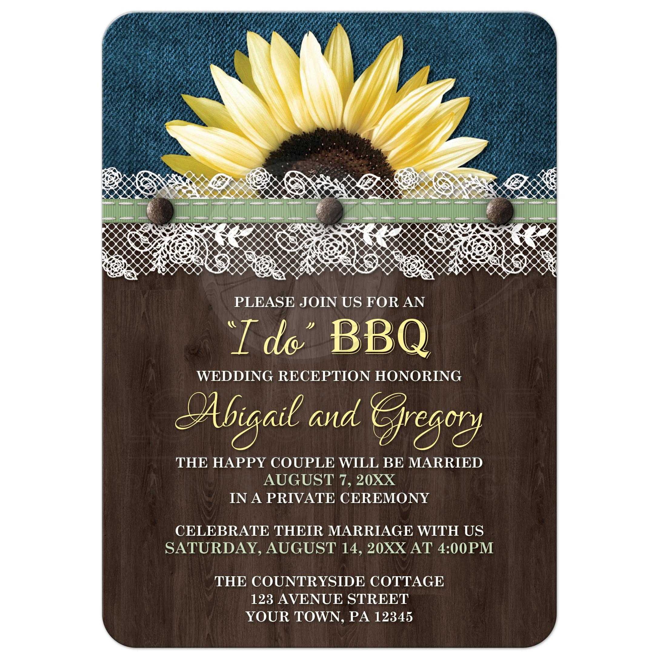 Reception Only Invitations   Sunflower Denim Wood Lace I Do BBQ