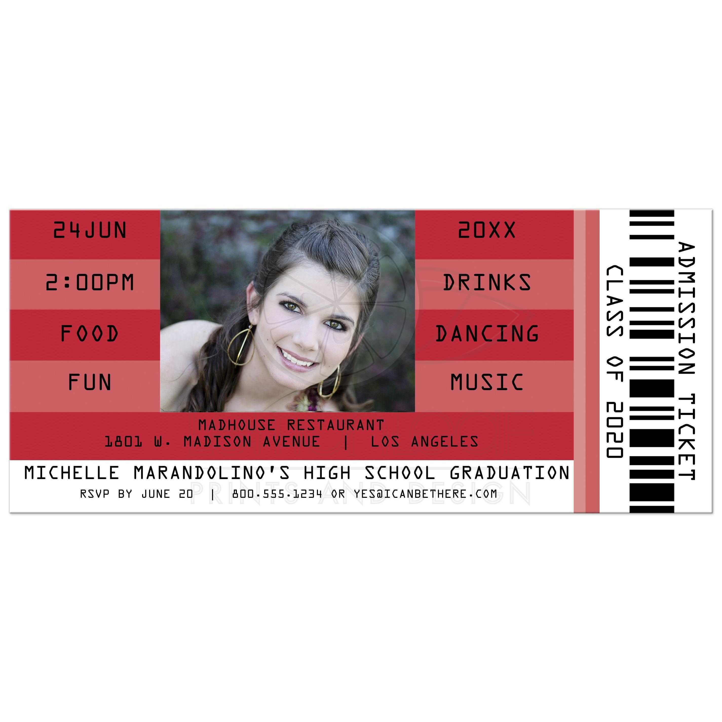 Red Retro Concert Admission Ticket Photo Graduation Party Invitation