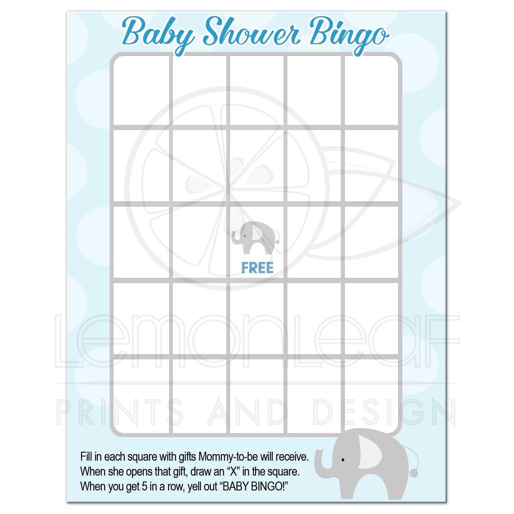 Mod Elephant Baby Shower Bingo Game Activity ...