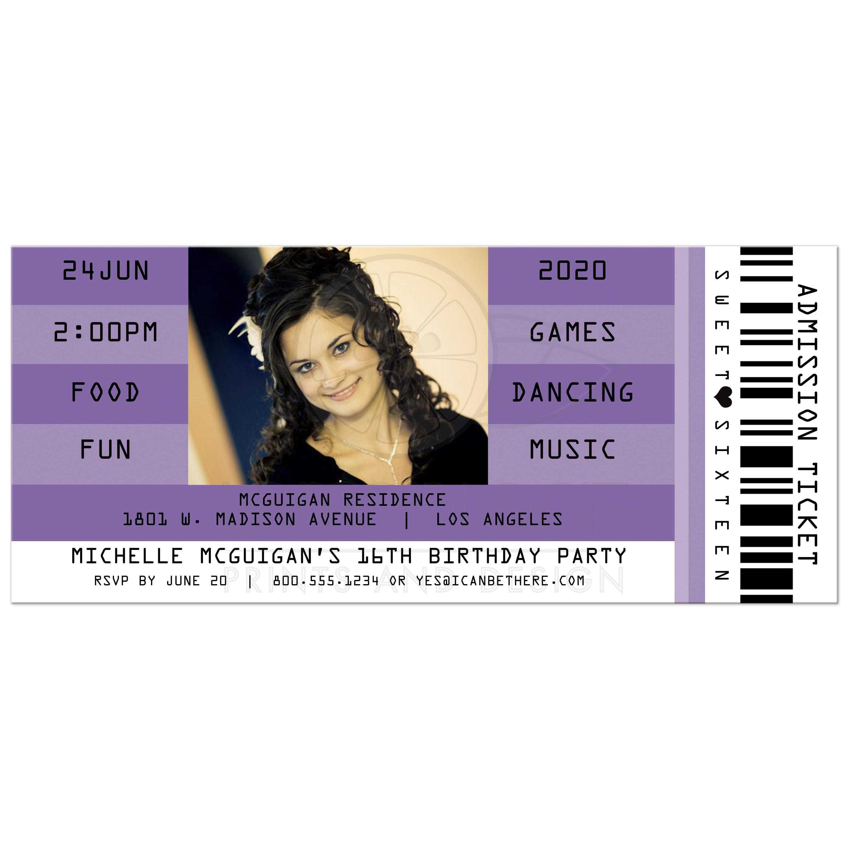 Purple Retro Concert Admission Ticket Photo Sweet 16 Party Invitation  Concert Ticket Birthday Invitations