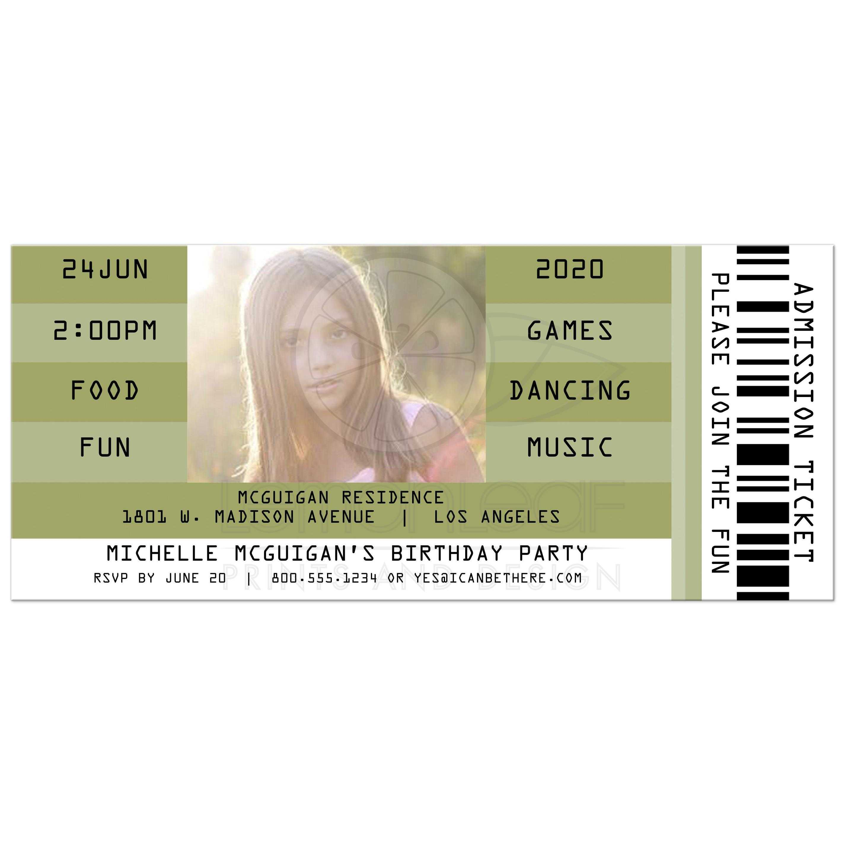 Olive Retro Concert Admission Ticket Photo Birthday Party Invitation