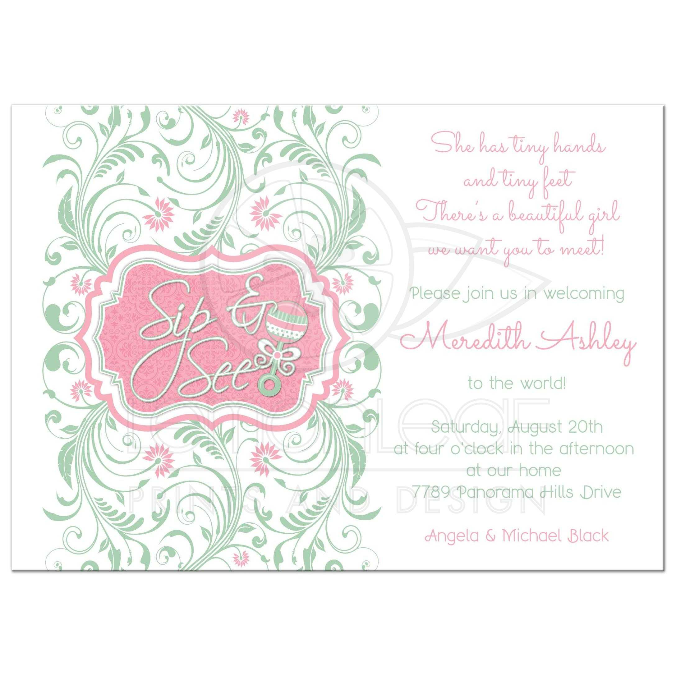 Baby Girl Sip and See Baby Shower Invitation Rattle Mint Pink