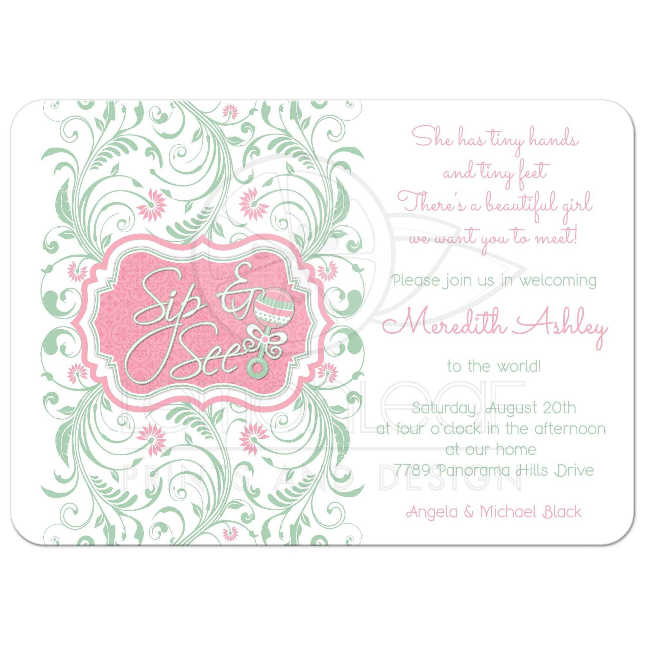 Mint Green Pink Fl Baby Rattle Sip And See Shower Invitation Front
