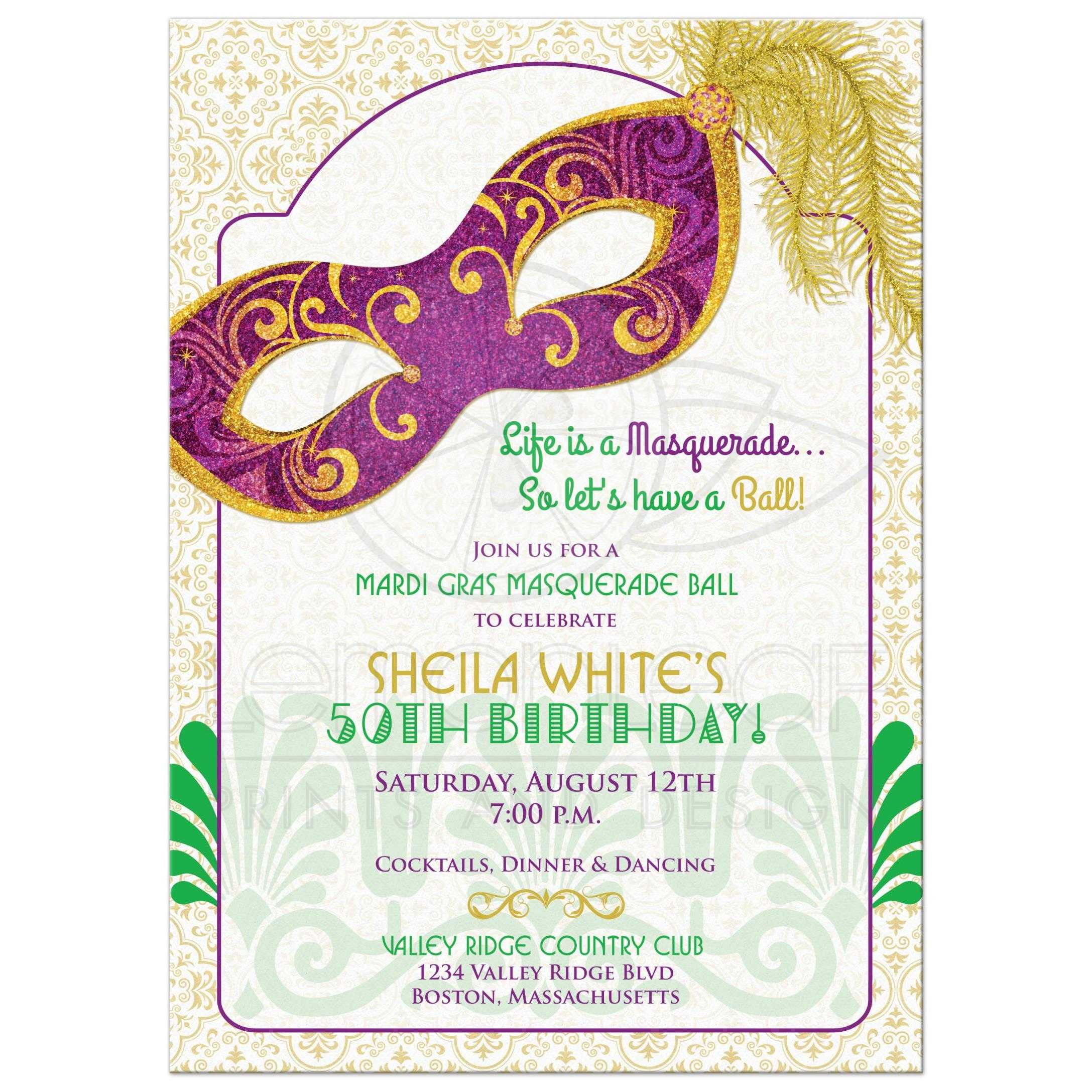 Mardi Gras Carnival Masquerade Ball 50th Birthday Party Invitation Front