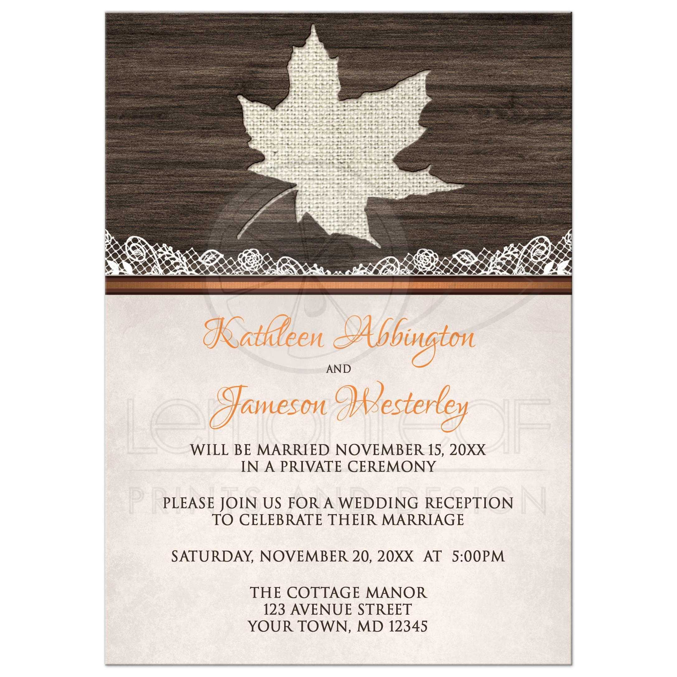 reception only invitations rustic autumn wood leaf orange - Wedding Reception Only Invitations