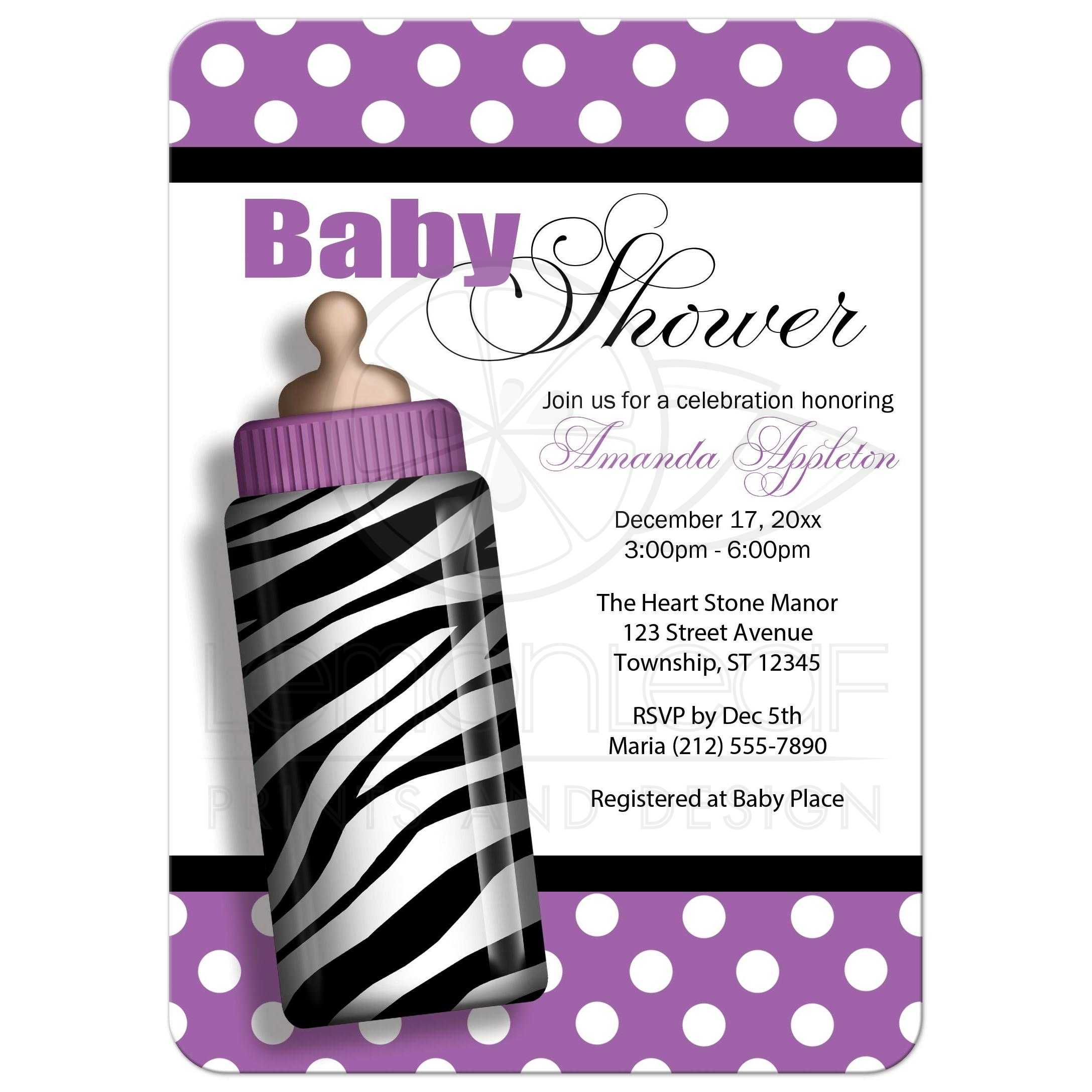 shower invitations  zebra print baby bottle purple, Baby shower invitations