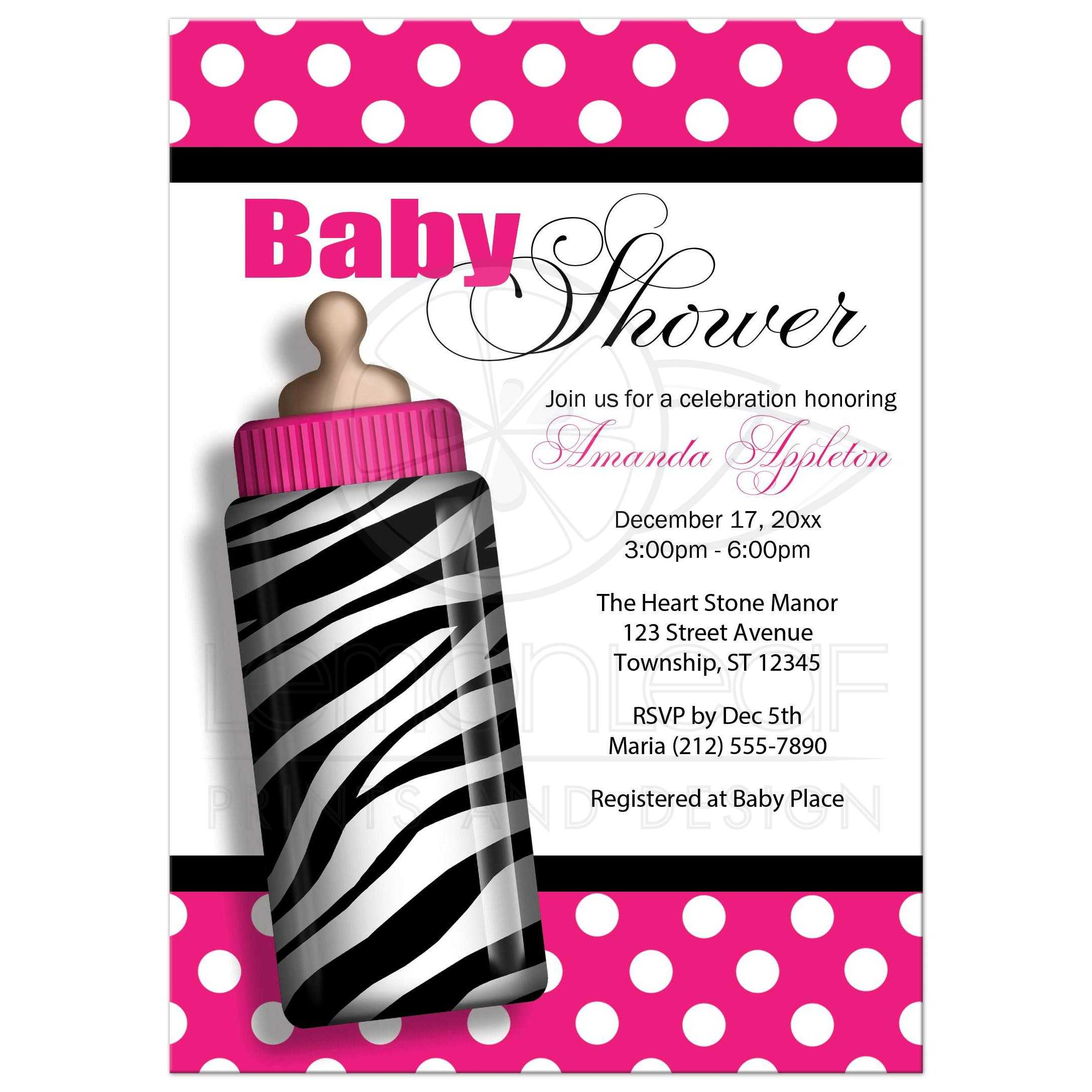 Shower Invitations Zebra Print Baby Bottle Hot Pink
