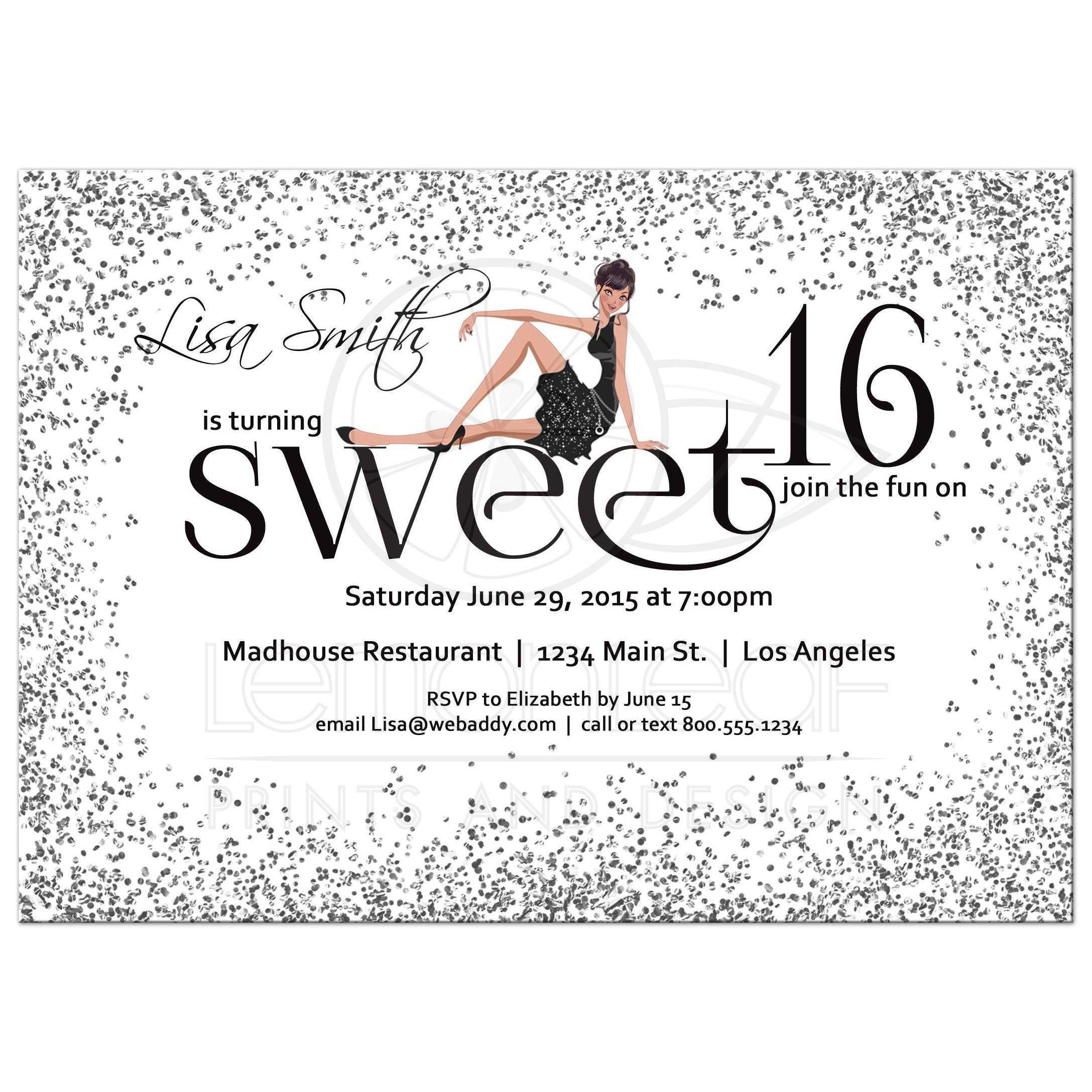 Modern Silver Sparkly Glitter Sweet 16 Birthday Party