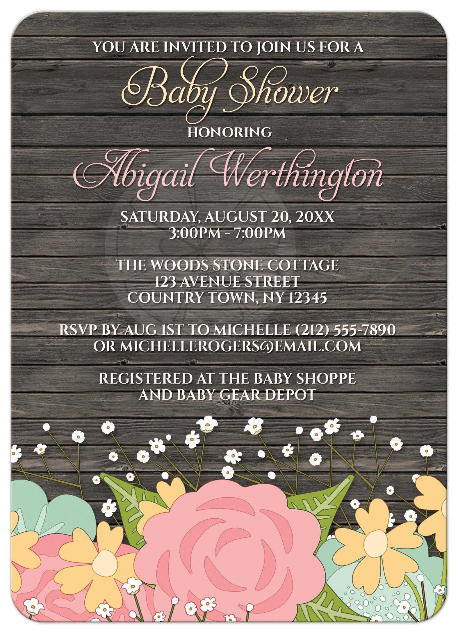 Shower Invitations Rustic Floral Wood Baby s Breath