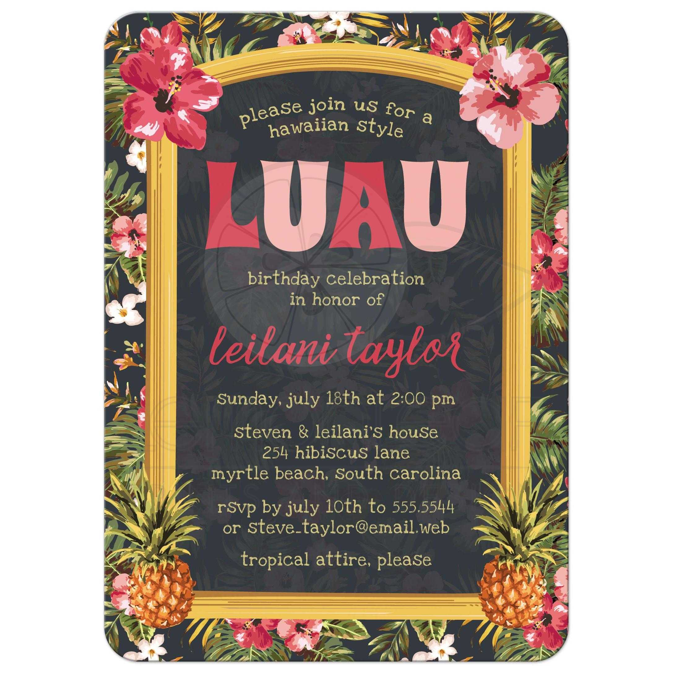 Adult Birthday Party Invitation - Tropical Hawaiian Luau