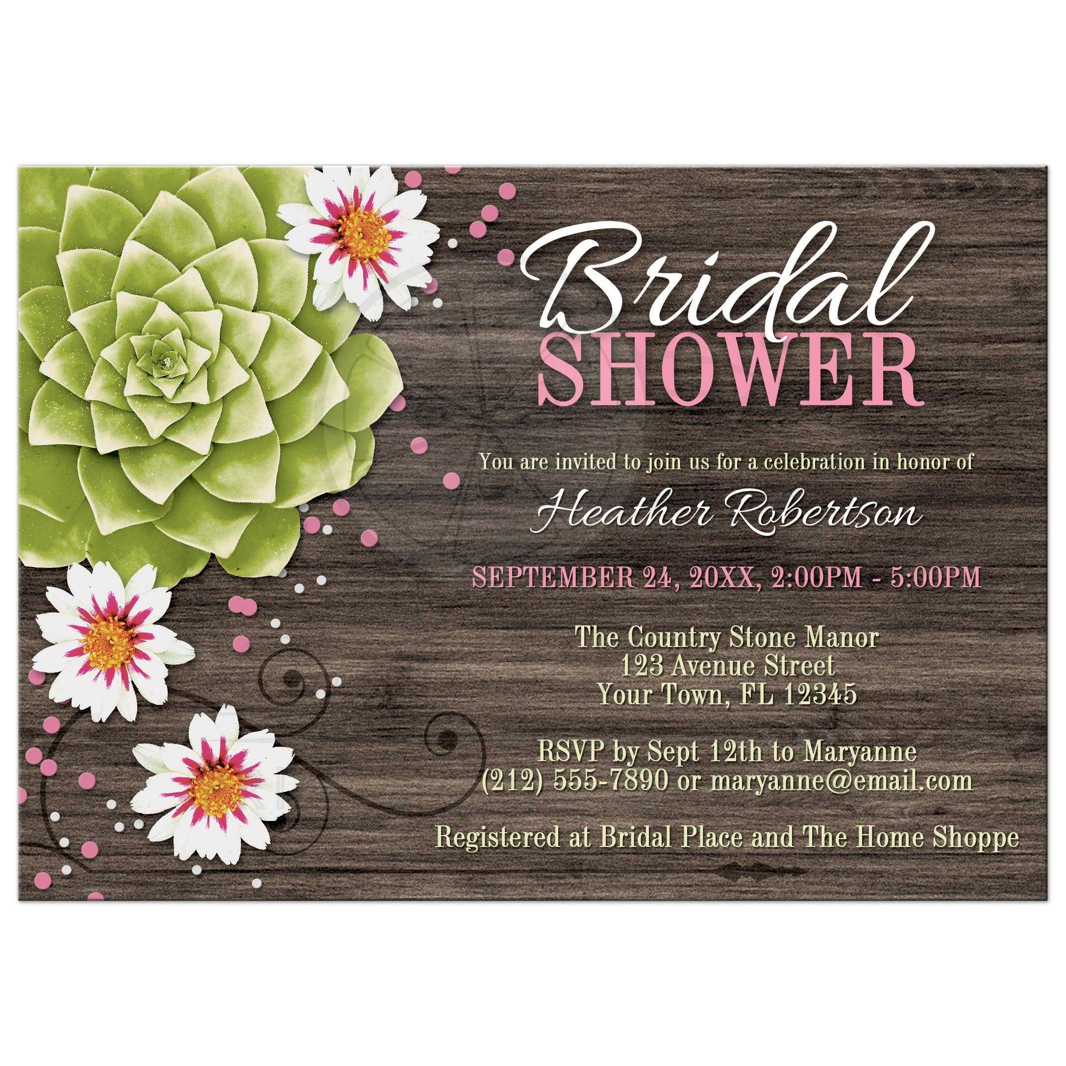 Bridal Shower Invitations Rustic Succulent Floral Wood Pink